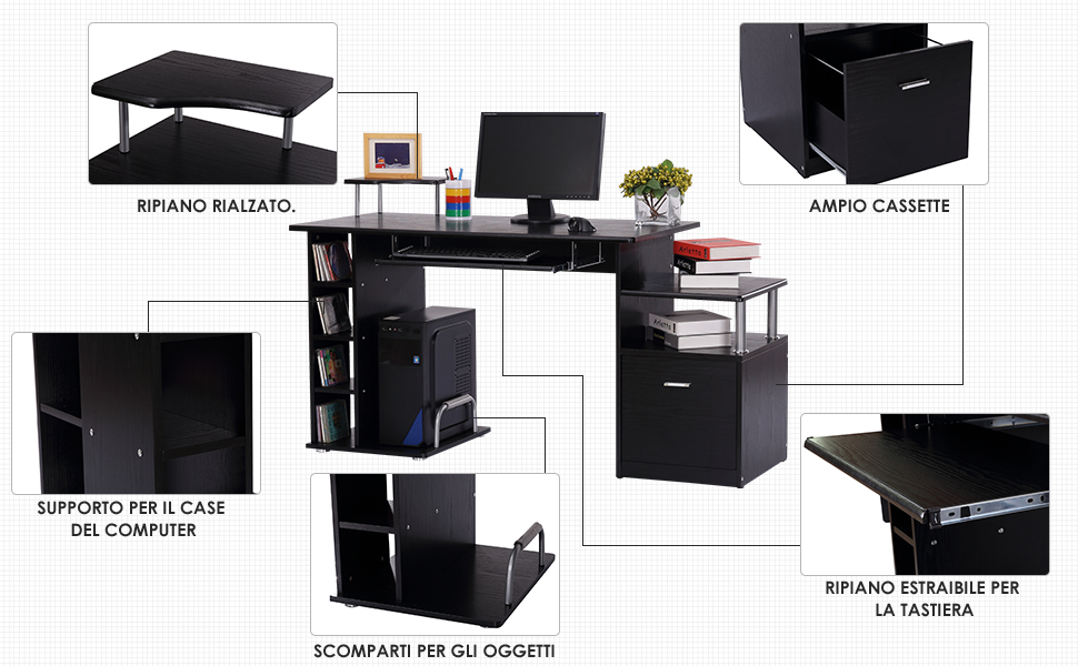 per casa e ufficio Scrivania portaoggetti Homycasa scrivania per computer portatile scrivania moderna per studio in stile scandinavo