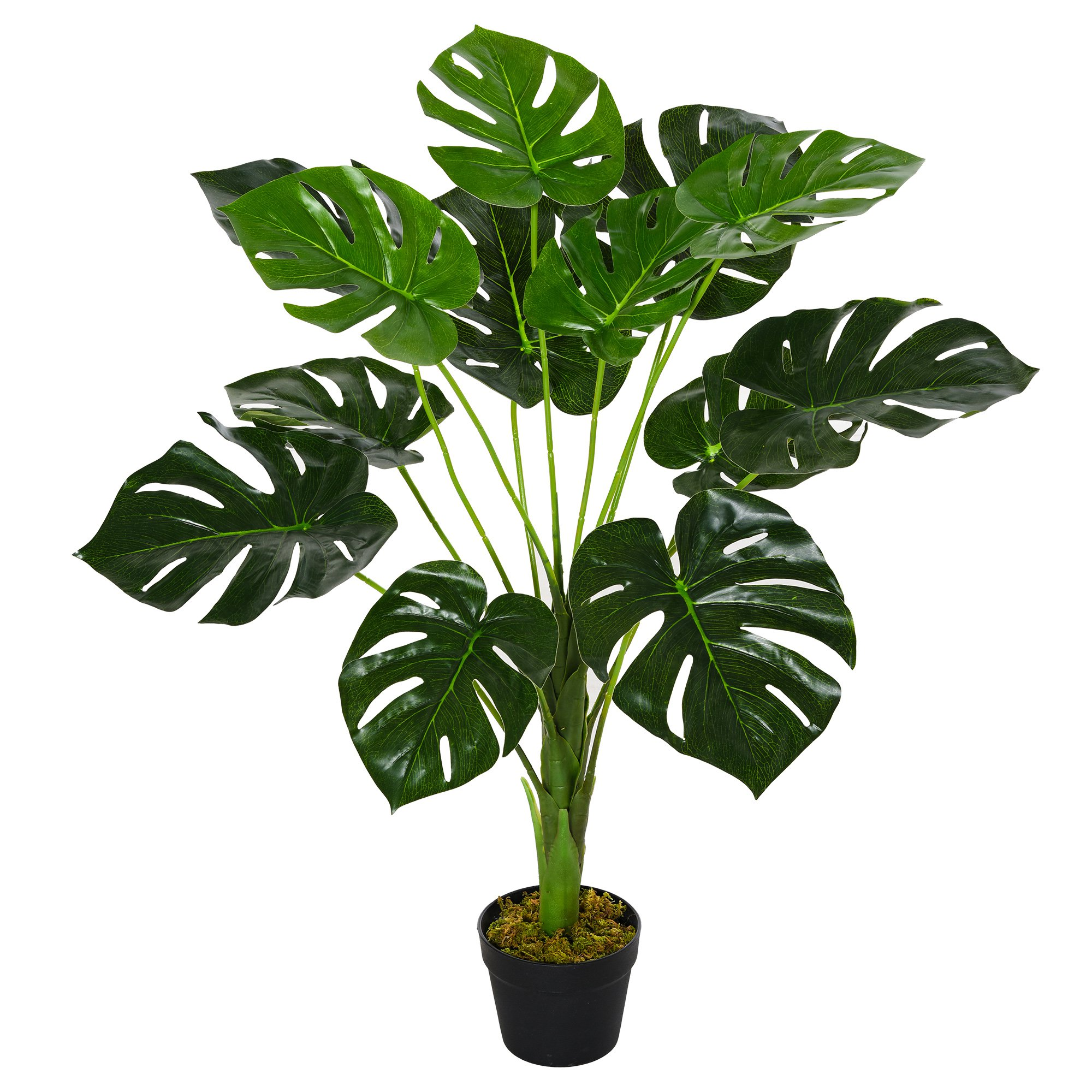 Outsunny Monstera Artificiale 13 Foglie e Vaso Alta 85cm per Interno ed Esterno