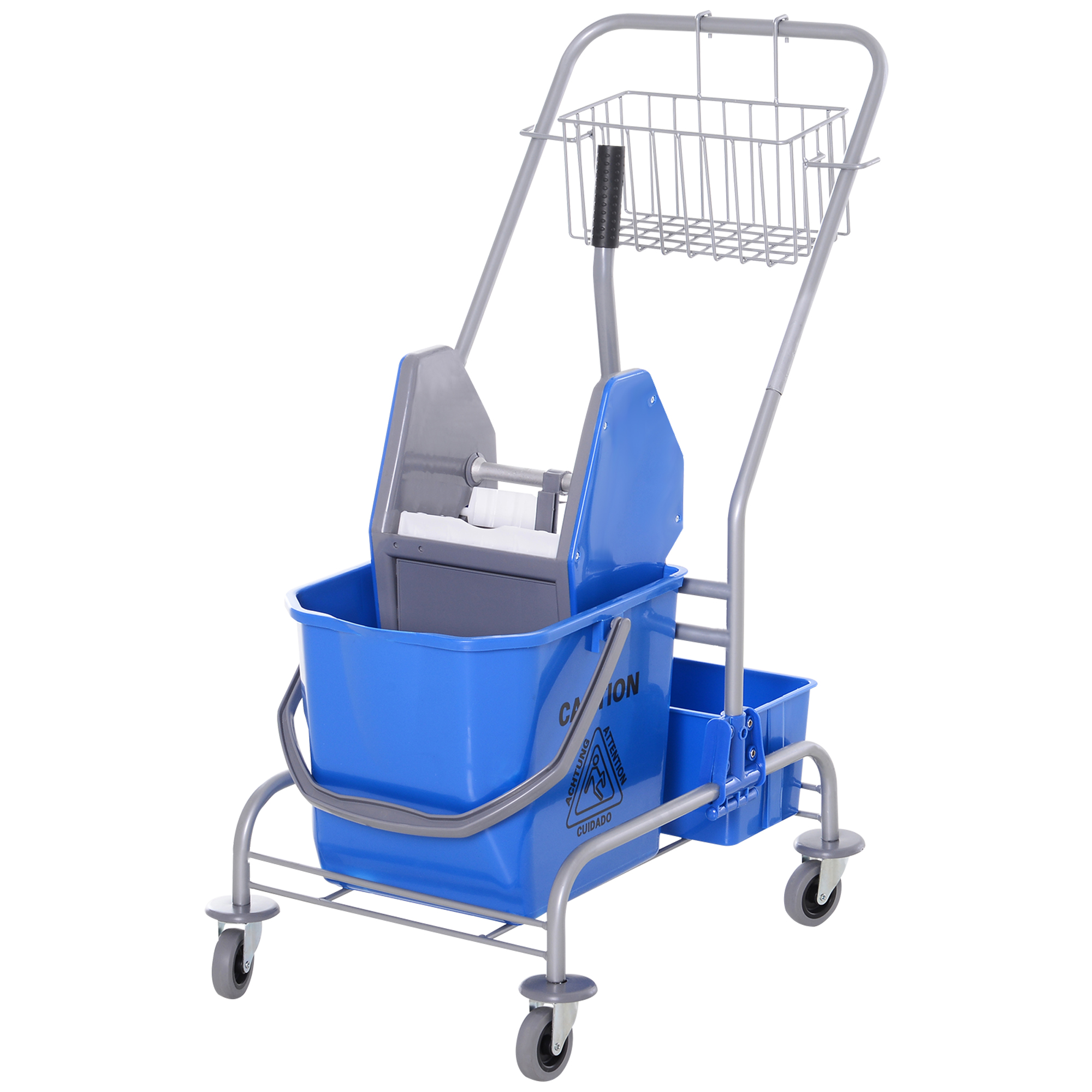 Homcom Carrello delle Pulizie Professionale con Secchio 25L e Strizzatore, Blu