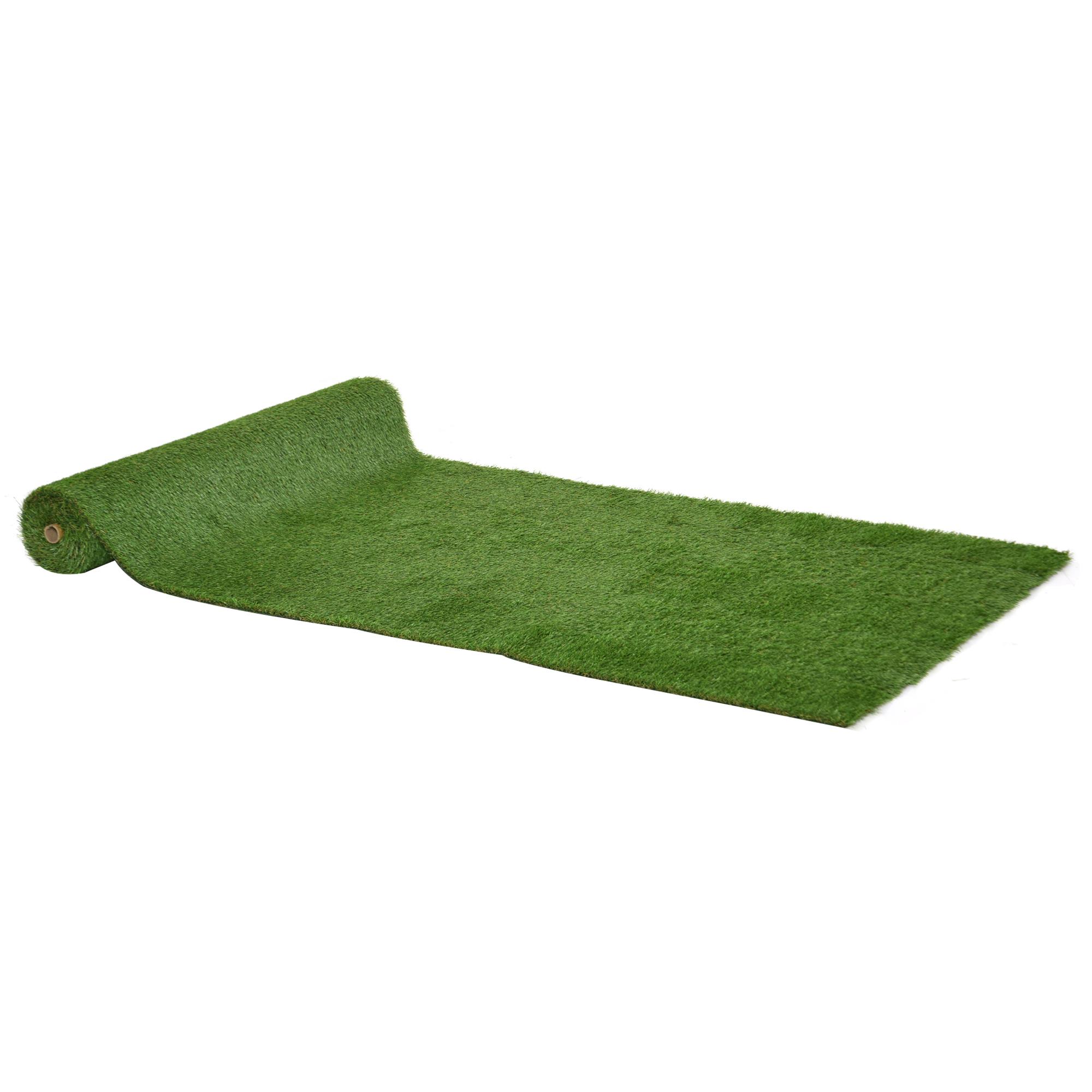 Outsunny Tappeto Erboso Sintetico 4x1m Erba 20mm, Finto Prato Verde Atossico Anti UV e Drenante per Giard