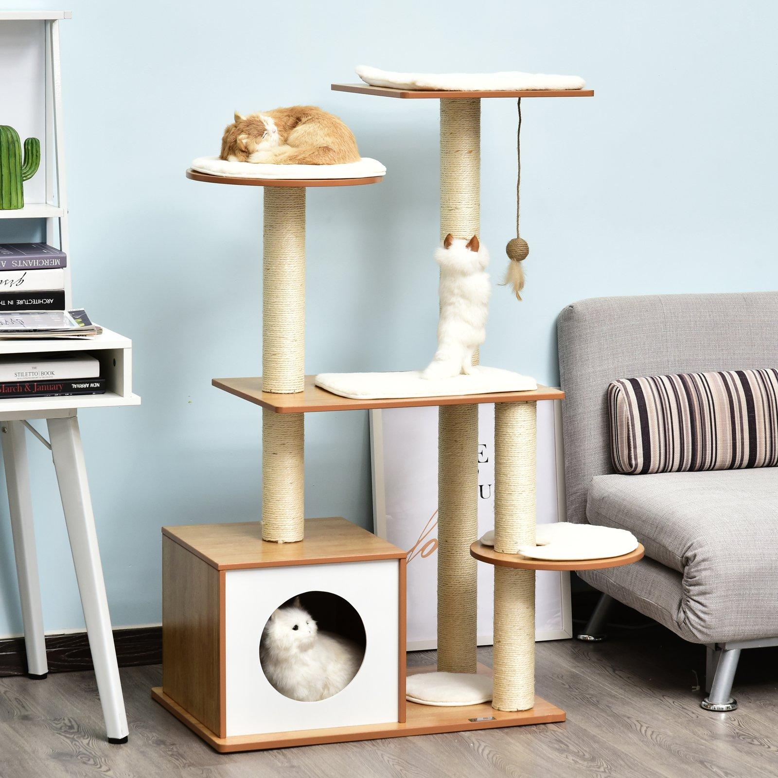 PawHut Albero per Gatti con Cuccia e Pali in Corda Sisal e Legno Giallo e Bianco 83 x 75 x 120cm