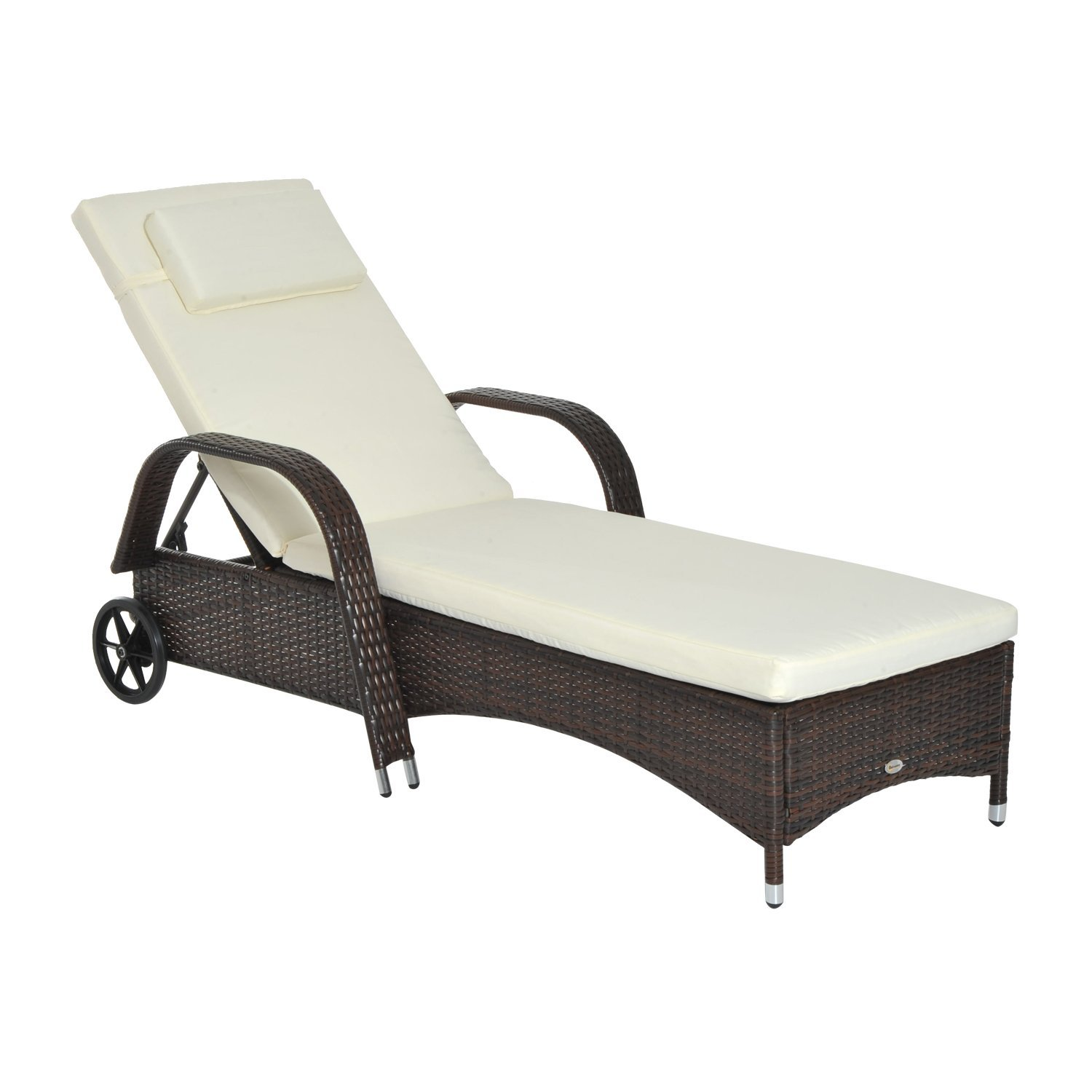 Outsunny Lettino Sdraio Prendisole Relax in Rattan, Marrone