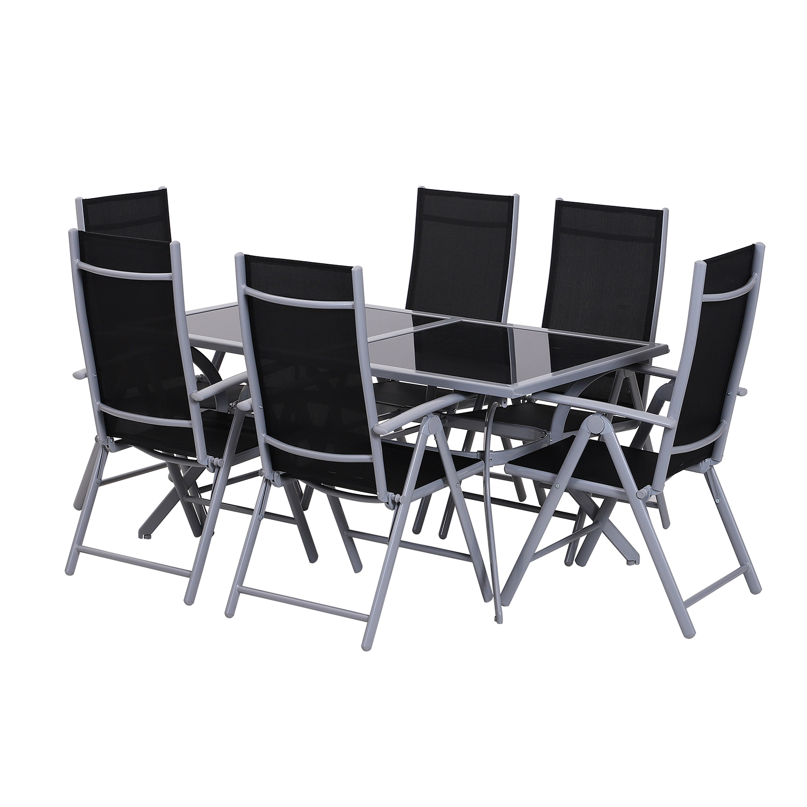Outsunny Tavolo da Esterno con 6 Sedie Pieghevoli in Alluminio e Tessuto di Texilene