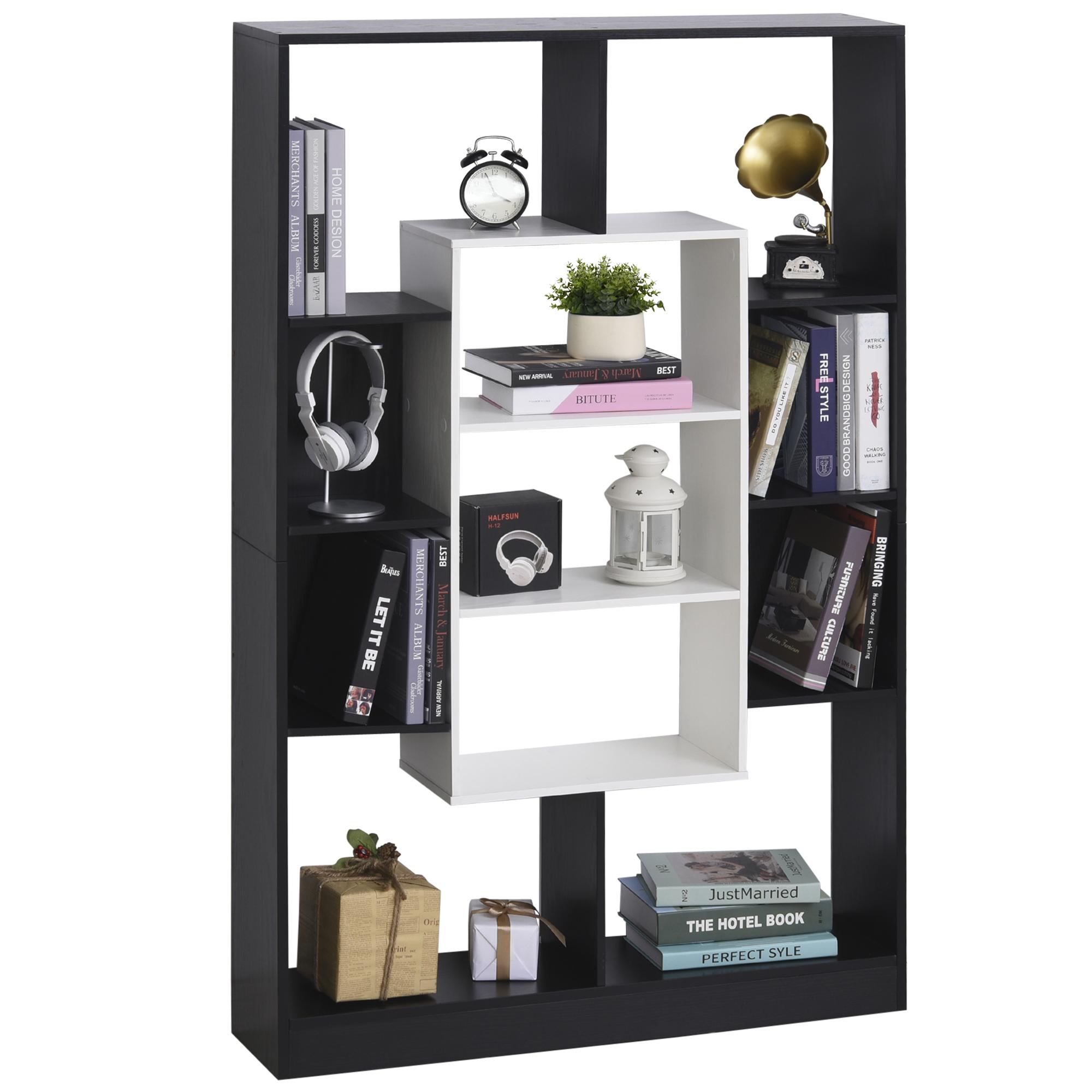 Homcom Libreria a Muro dal Design Moderno in Legno Bianco e Nero 95 x 22 x 150cm