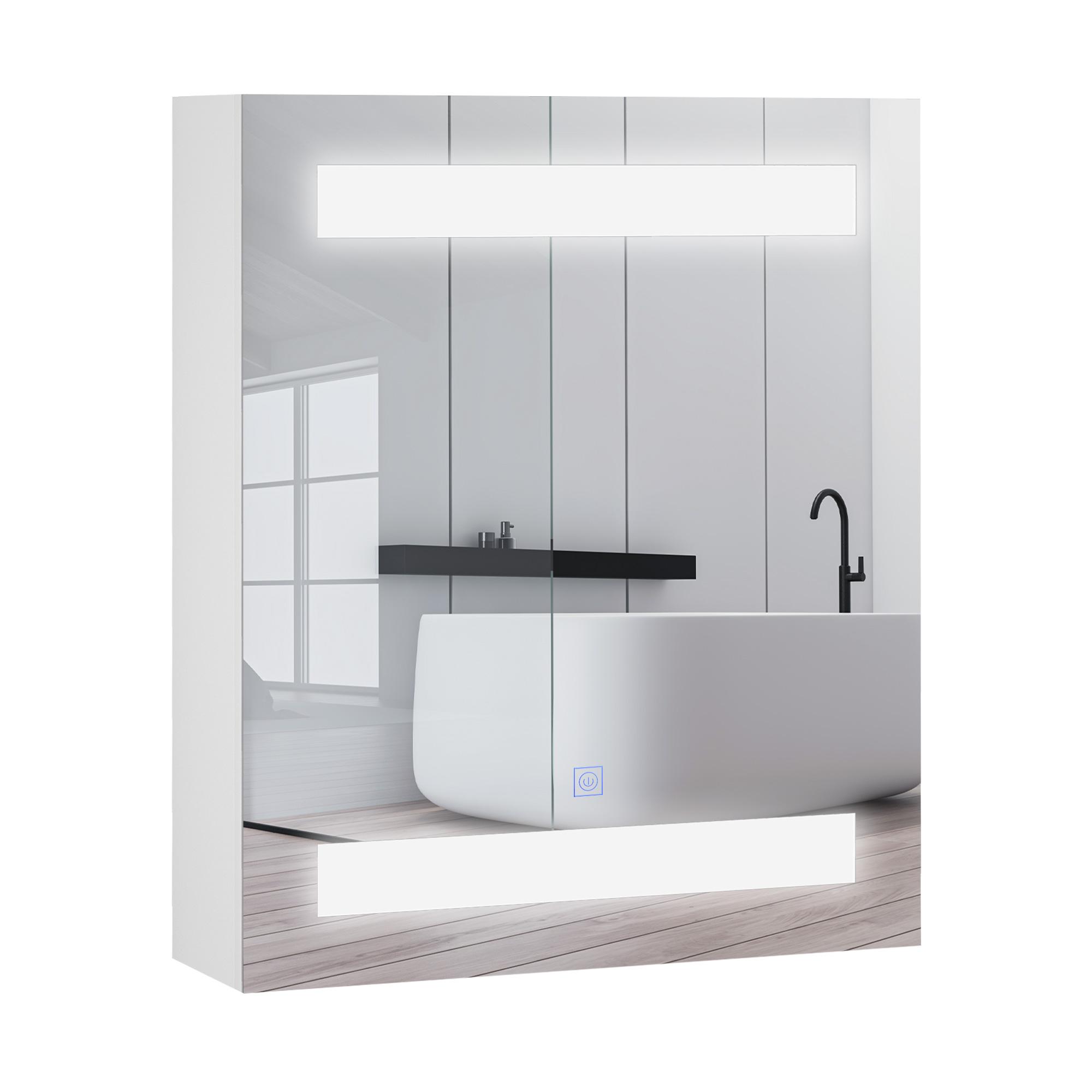 Homcom Armadietto Pensile da Bagno con 1 Anta Specchio e Luci a LED 60 x 50 x 15cm