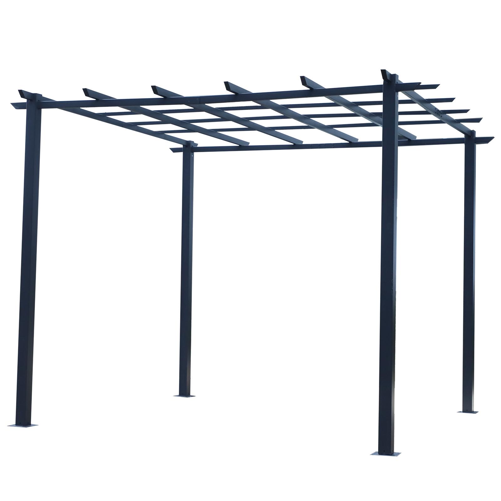 Outsunny Pergolato da giardino Struttura in metallo Nero 300 x 300 x 230 cm