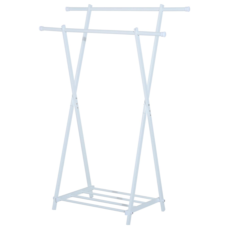 HomCom Stand Appendiabiti con Ripiano Portaoggetti in Metallo Bianco, 104.5x48.5x145cm