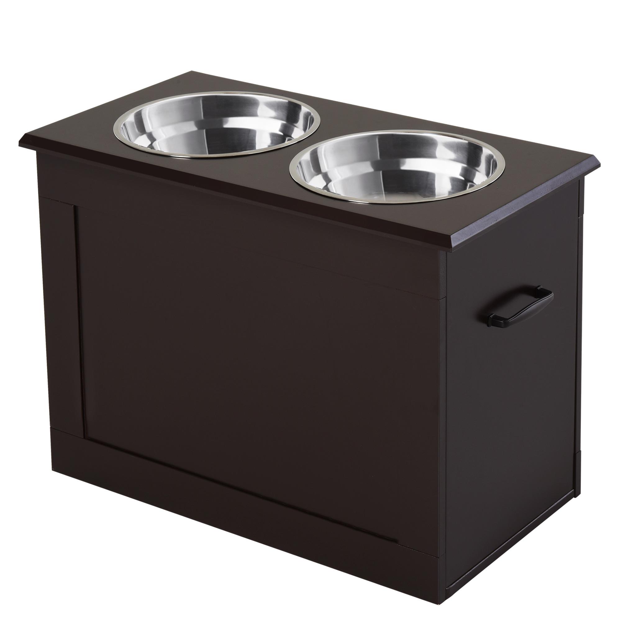 PawHut Portaciotole Rialzato per Cani con 2 Ciotole di Φ24cm in Acciaio Inox