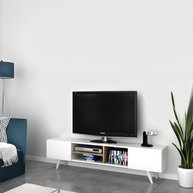 Homemania Mobile TV Dore W160xD29,7xH40,6 cm Bianco, Noce