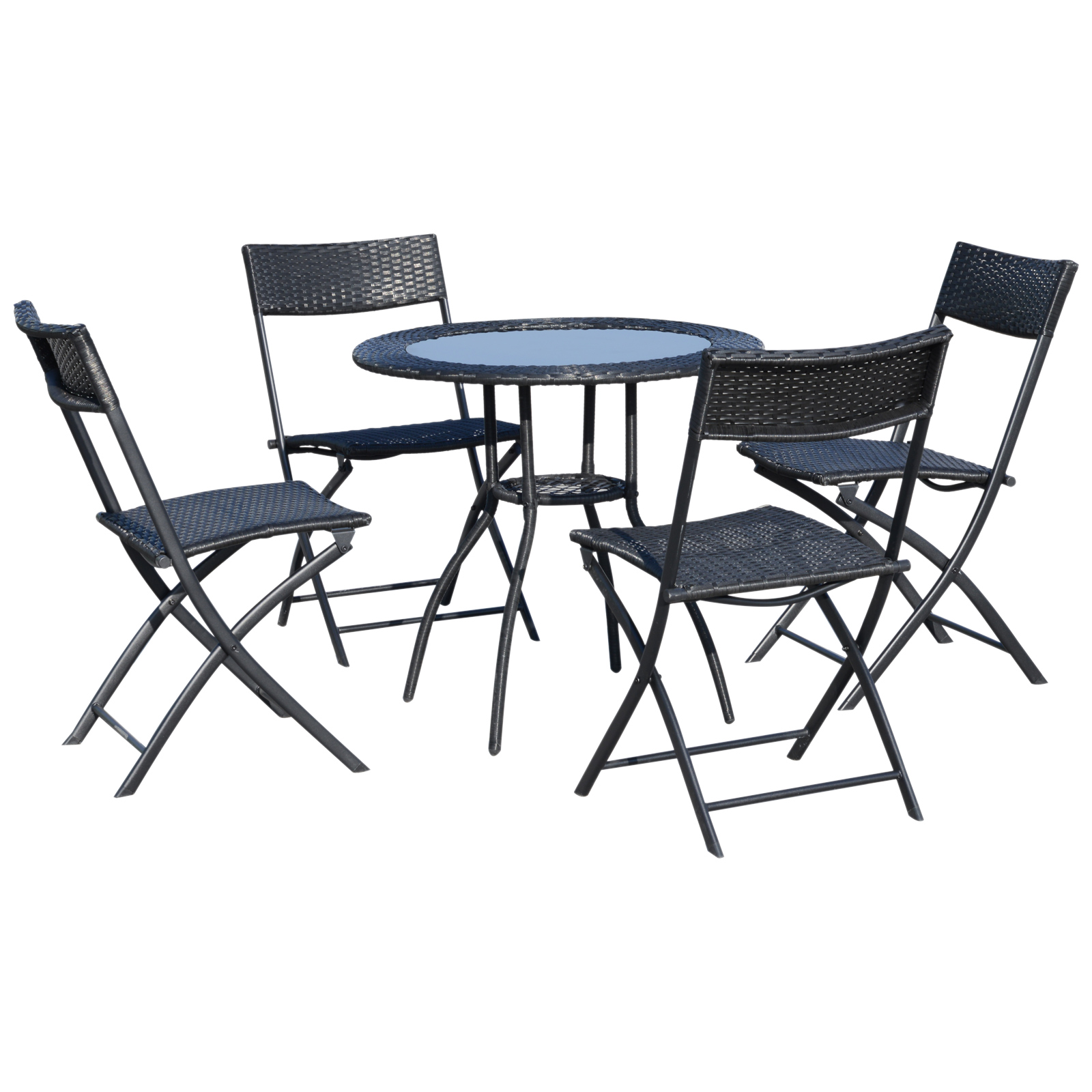 Outsunny Set 5 Mobili da Giardino in Rattan 4 Sedie Pieghevoli 1 Tavolino in Vetro Temperato, Nero