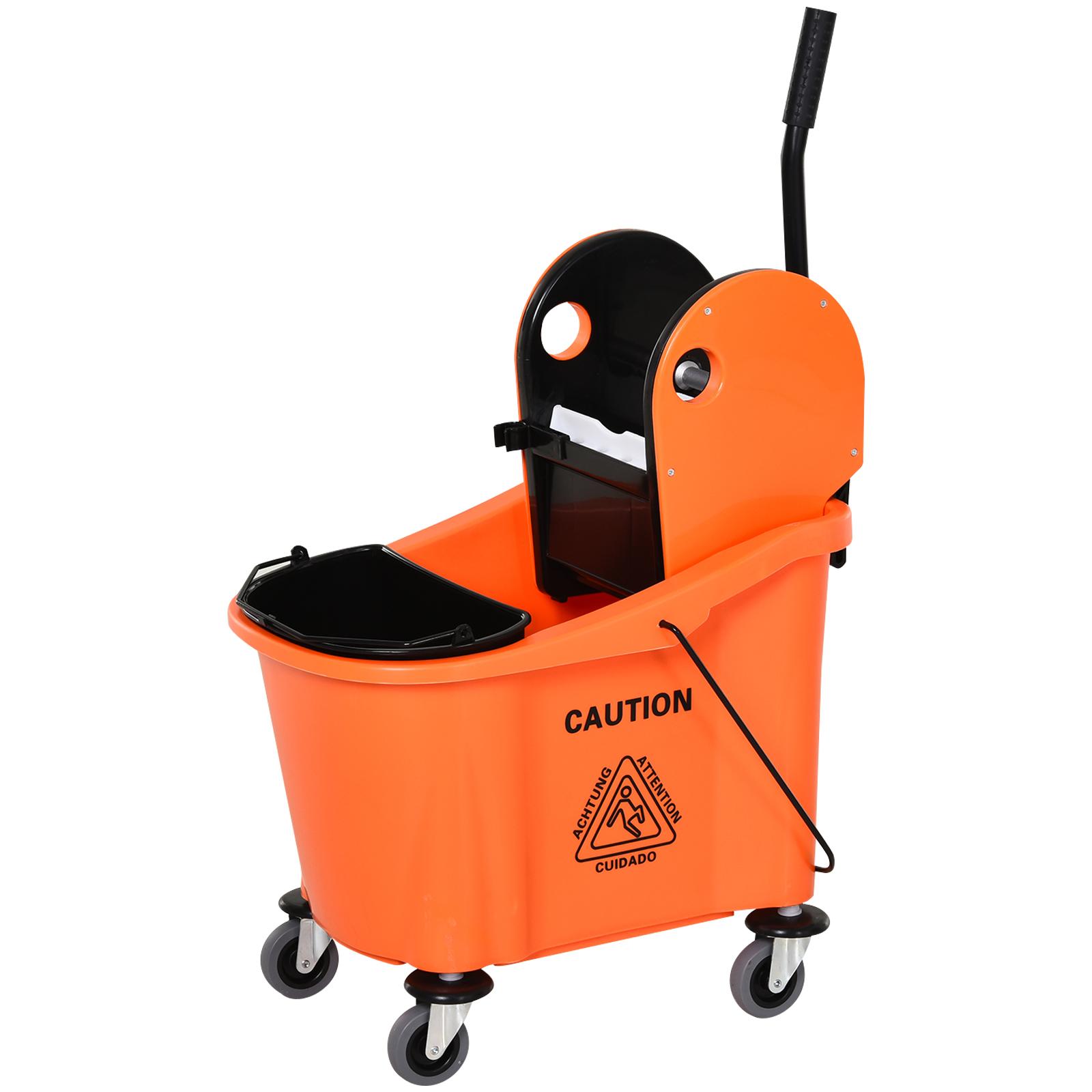 Homcom Carrello Secchio Lavapavimenti da 36L con Strizzatore Pressa Arancione