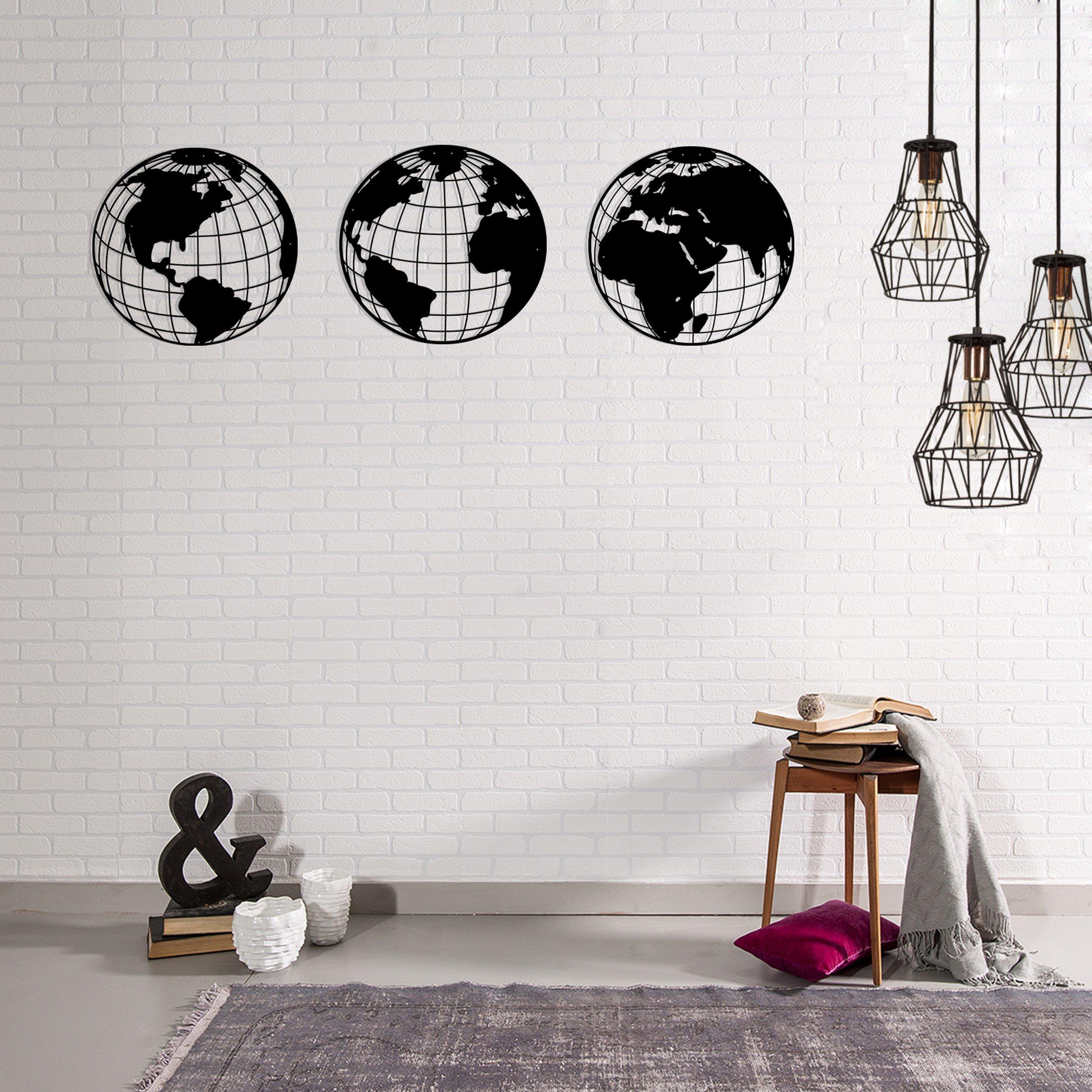 Homemania Decorazione Da Parete 3 Pannelli World W140xD0,15xH41 cm Nero