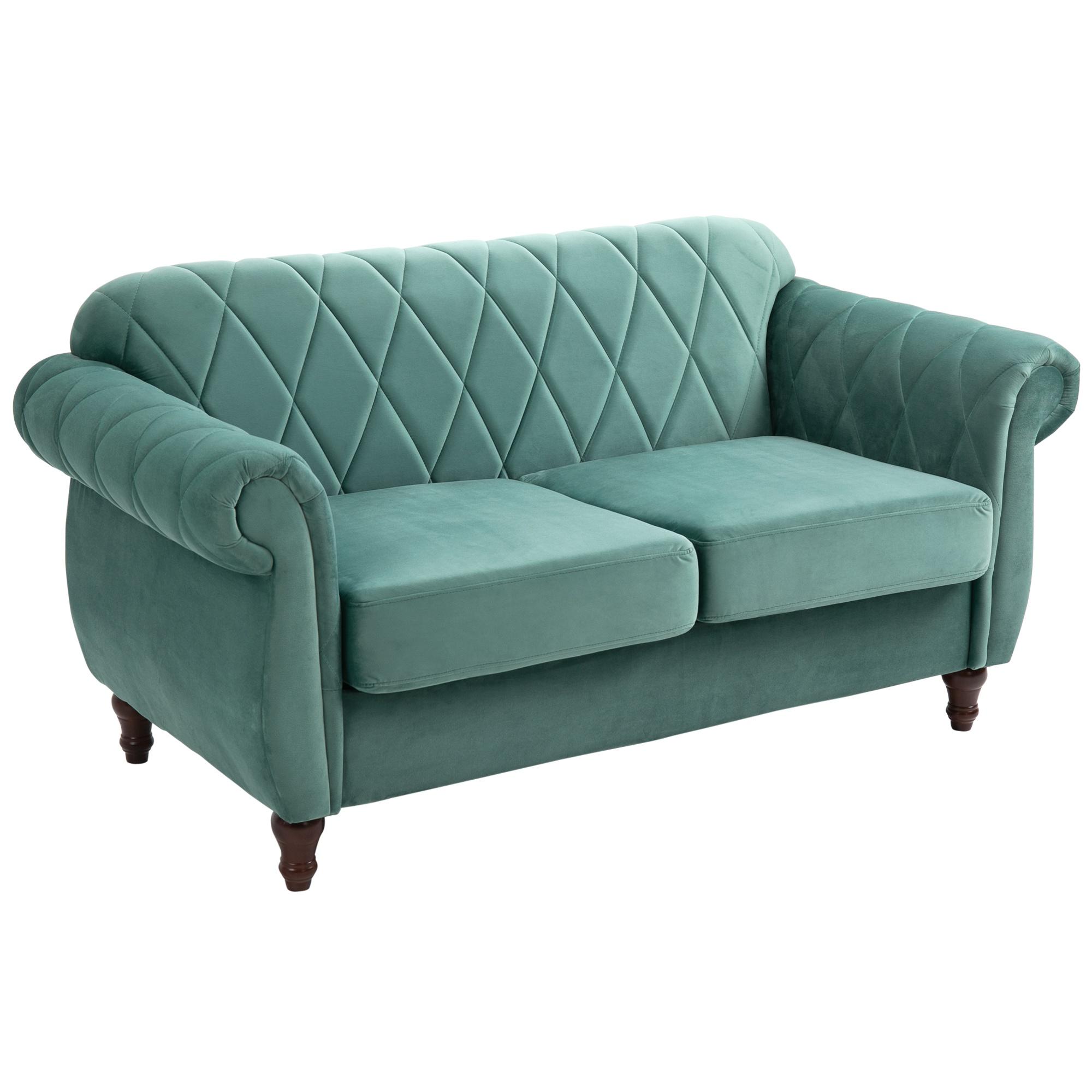 Homcom Divano 2 Posti in Legno e Velluto Verde Design Vintage 148 x 72 x 76cm