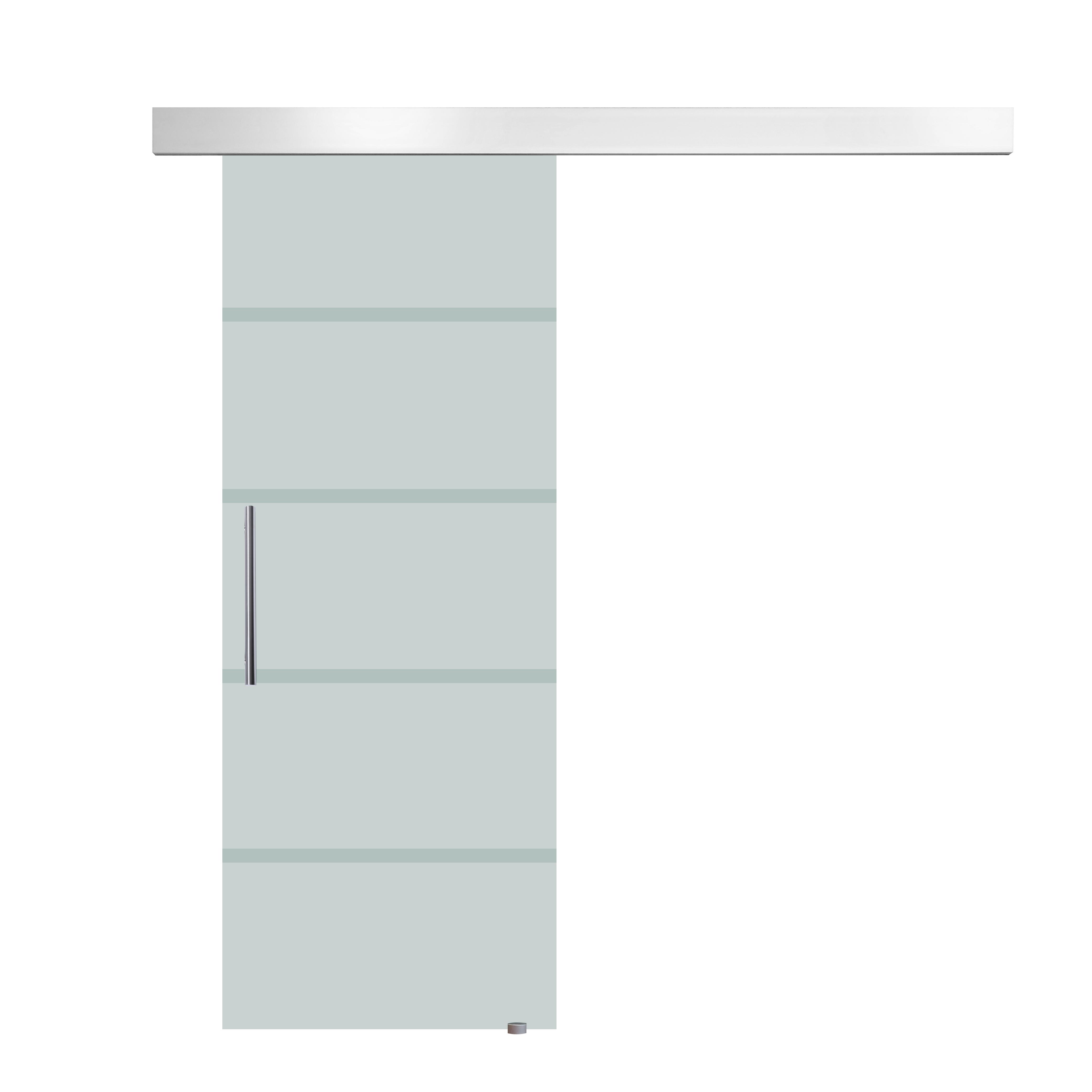 HomCom Porta Scorrevole in Vetro Satinato con Strisce Trasparenti con Binario, 90x205cm