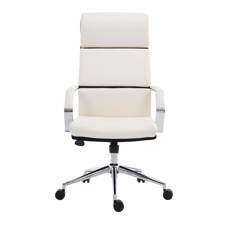HomCom Poltrona da Ufficio Girevole Altezza Regolabile in Ecopelle, Bianco, 74.5x63x116.5-124cm