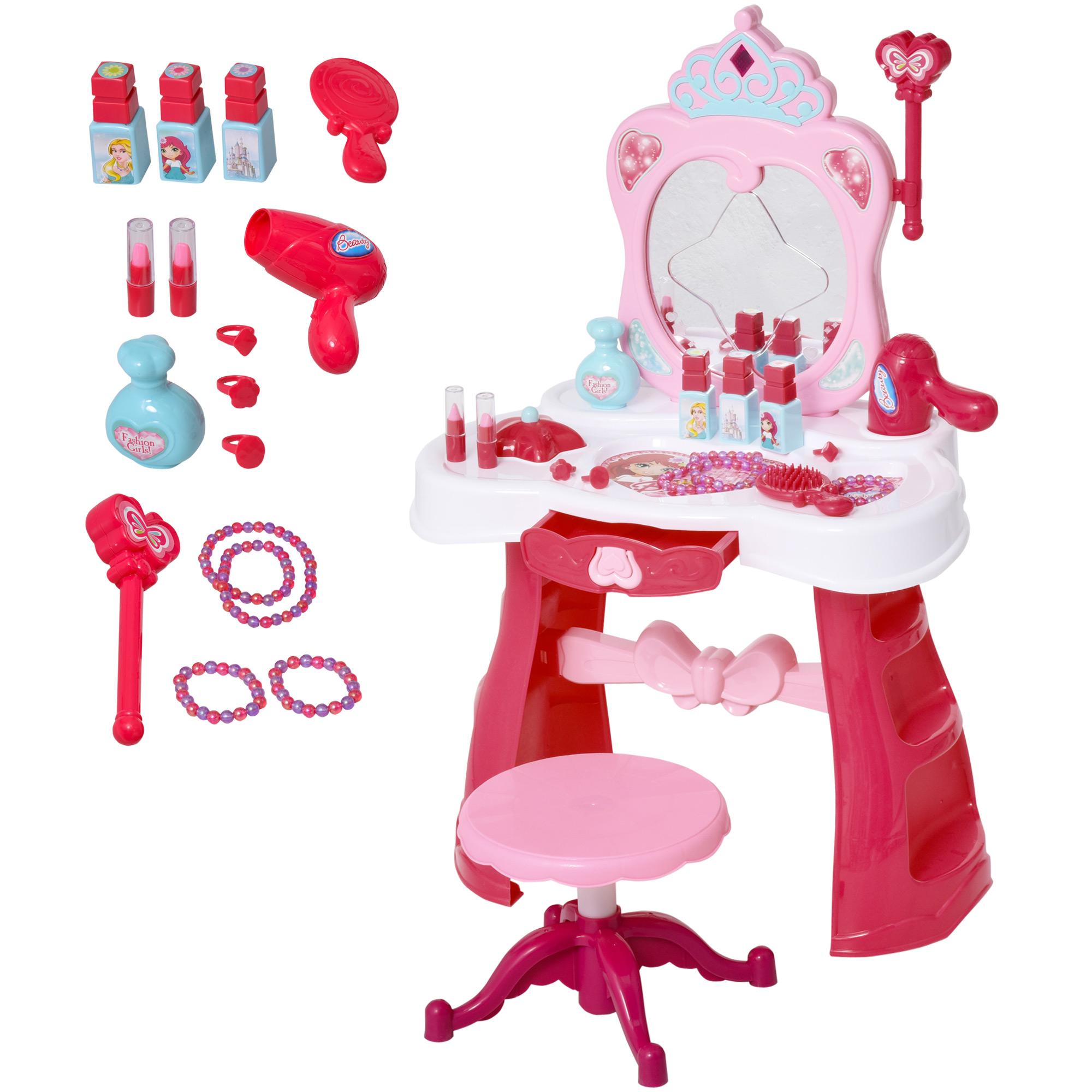 Homcom Postazione Trucco Giocattolo per Bambine con Sgabello Luci Suoni e Accessori Inclusi Bianca e Rosa