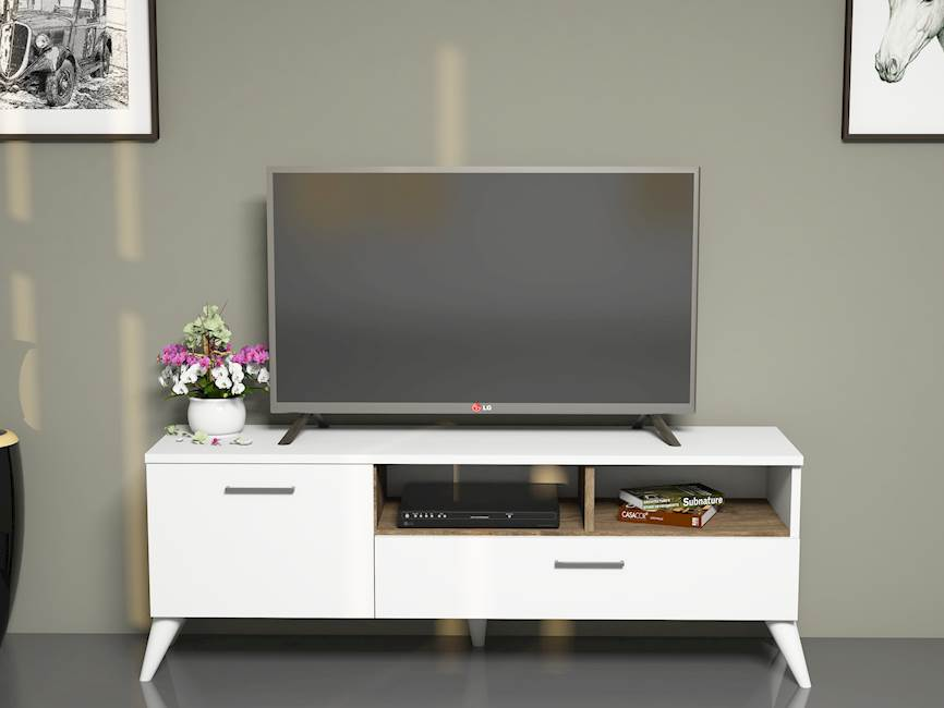 Homemania Mobile TV Sun W120xD31,7xH48,6 cm Bianco, Noce