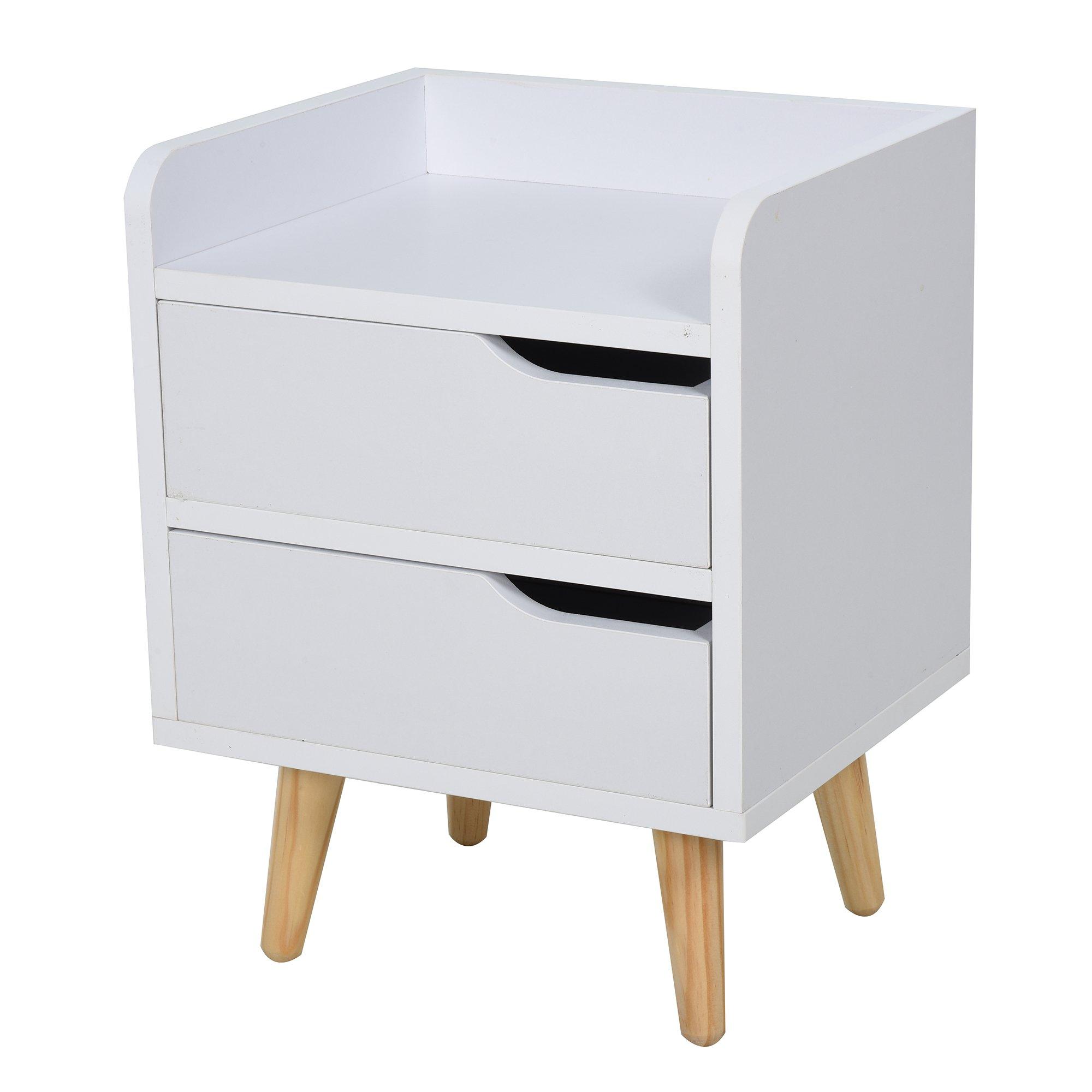 Homcom Comodino dal Design Moderno Bianco con Cassetti e Piedini in Legno