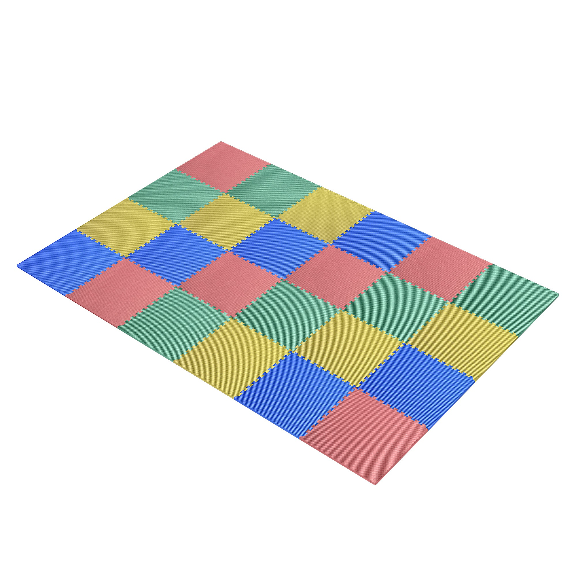 HomCom Tappeto Puzzle 24 Pezzi in EVA per Bambini 610x610x10mm
