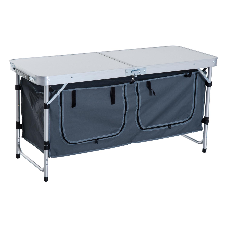 Outsunny Tavolino da Campeggio Pieghevole con Ripiano Portavivande in Alluminio Bianco