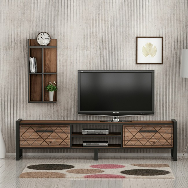 Homemania Mobile TV Megy Upper Unit W32xD22xH72 cm, Lower Unit W184xD39xH45 cm Noce, Nero