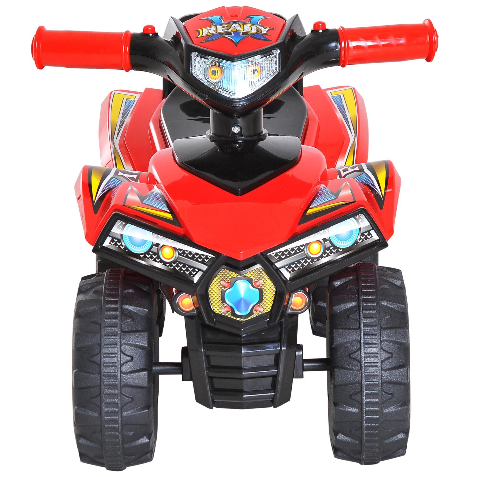 Homcom Quad Giocattolo per Bambini con 4 Ruote Clacson Musica Luci 60 × 38 × 42cm in PP Rosso
