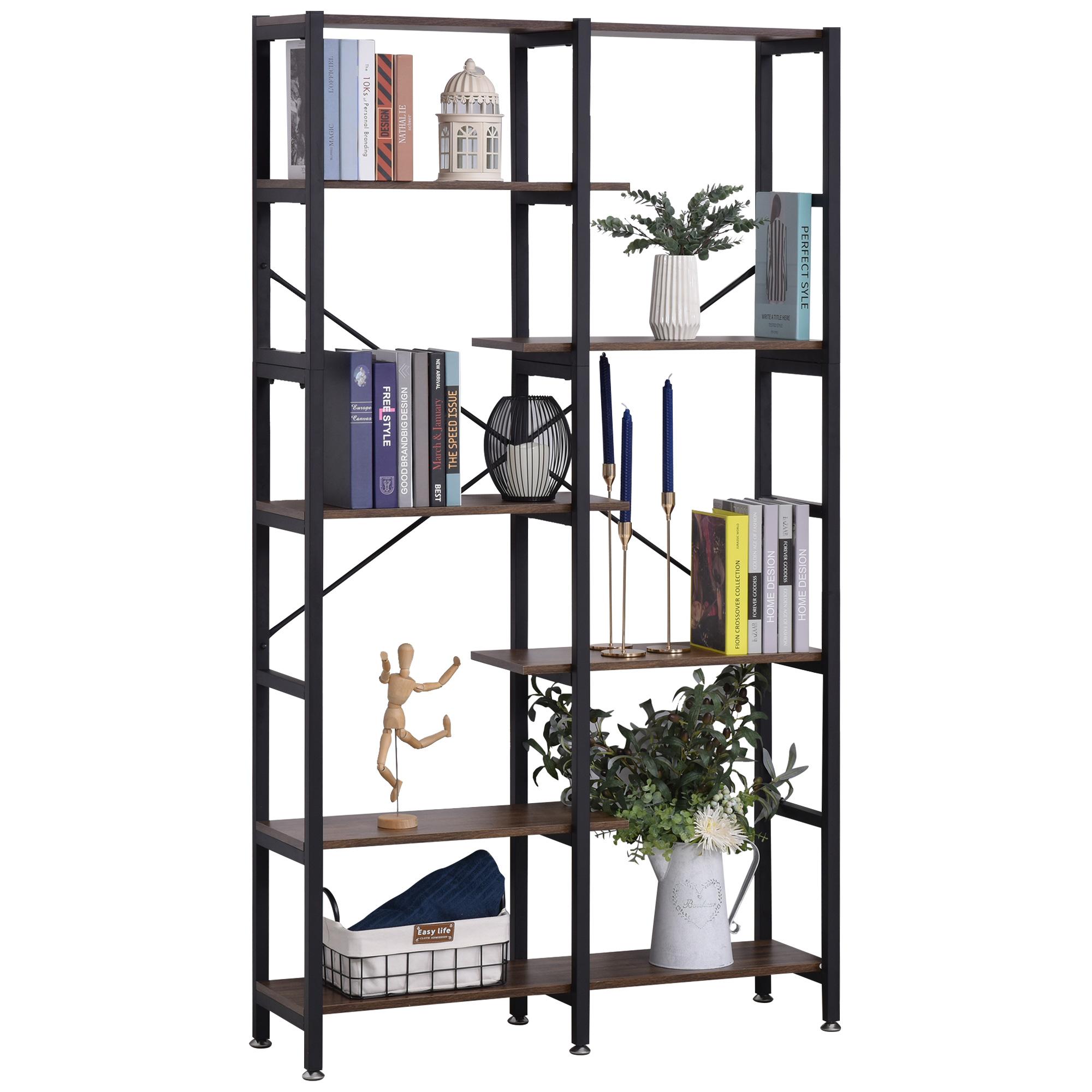 Homcom Scaffale Libreria da Parete in Legno e Metallo Nero con 6 Ripiani Stile Industriale