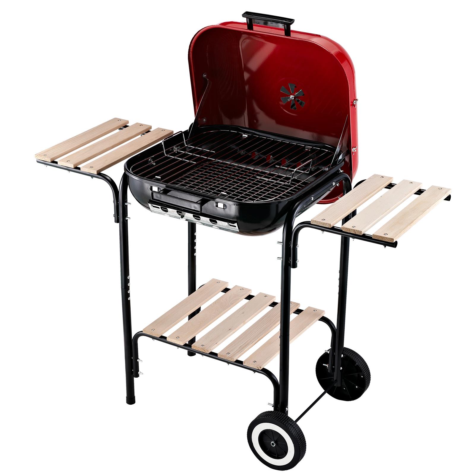 Outsunny Barbecue a Carbonella con Coperchio e Ruote in Acciaio Rosso Nero