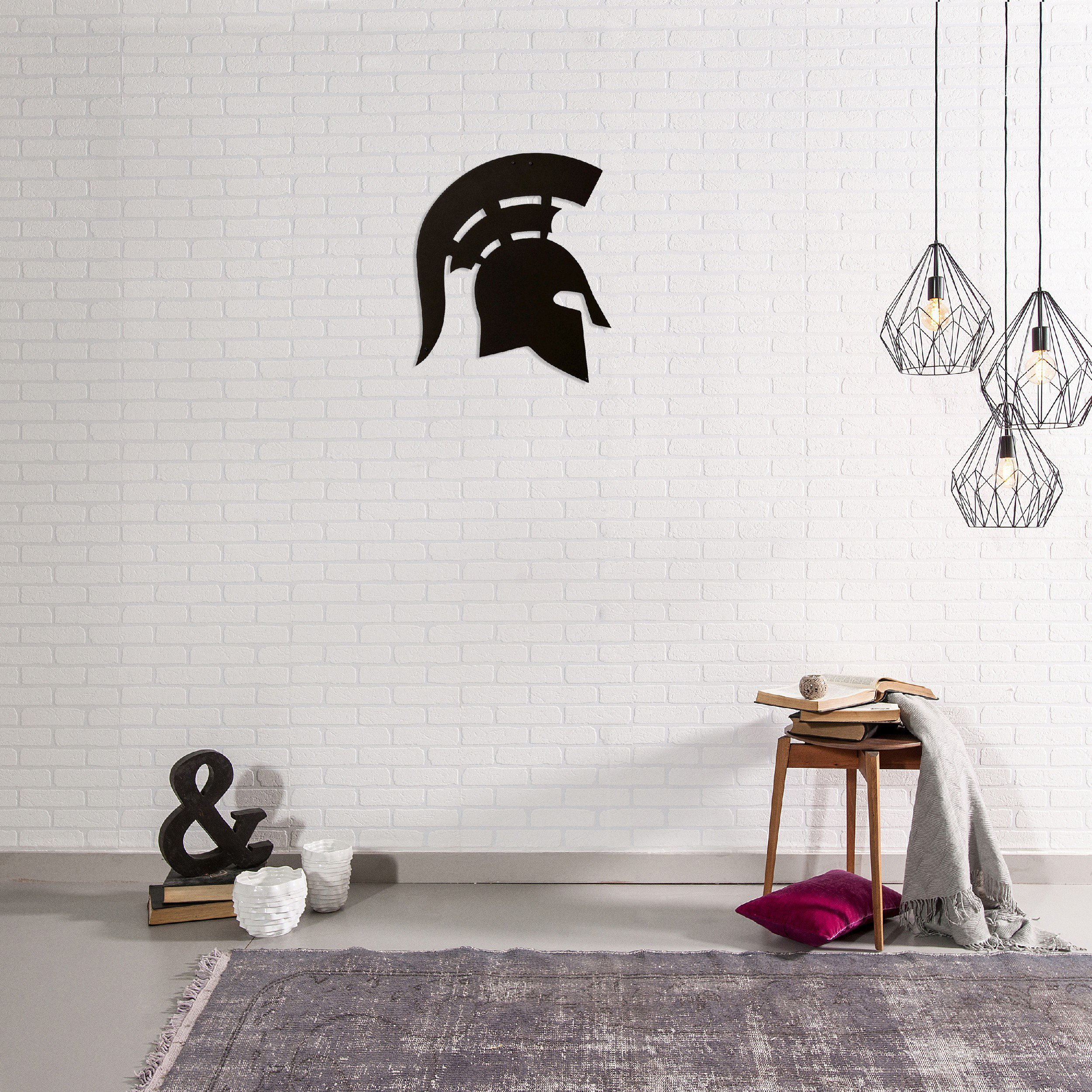 Homemania Decorazione Da Parete in Acciaio Spartano Nero L43xP0,15xA50 cm