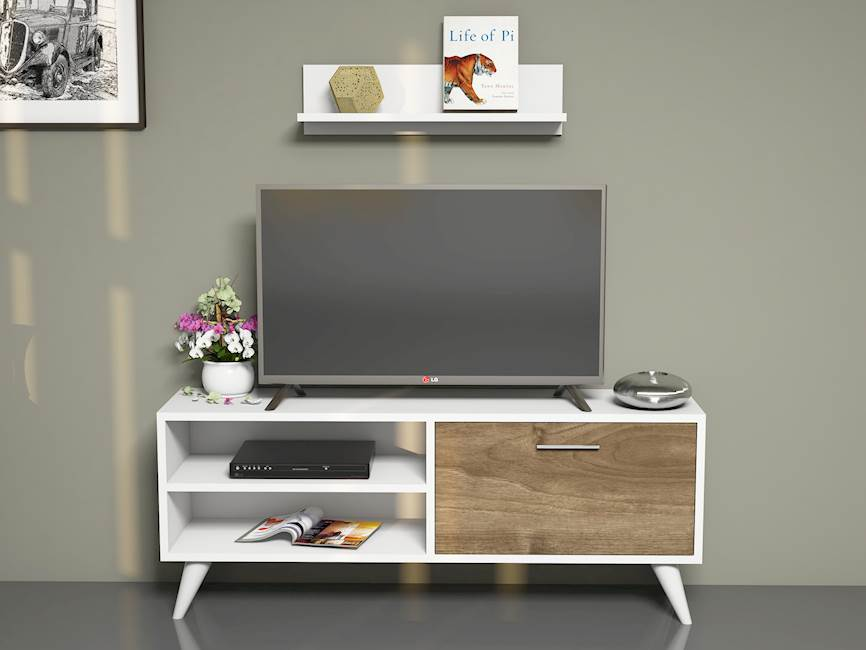 Homemania Mobile TV Party Tv Unit W120xD29,7xH48,6 cm, Shelf W60xD14xH16 cm Bianco, Noce