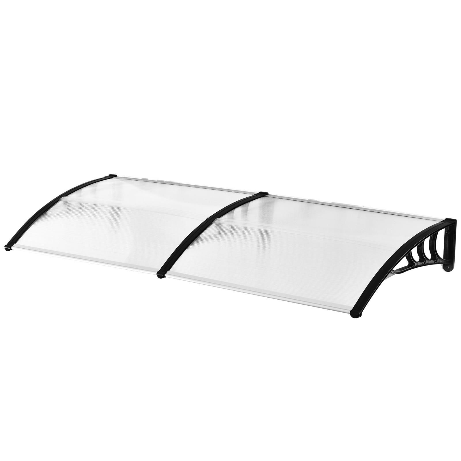 Outsunny Pensilina Tettoia per Porta o Finestra Impermeabile Anti UV in Policarbonato 80 x 197 x 23 cm