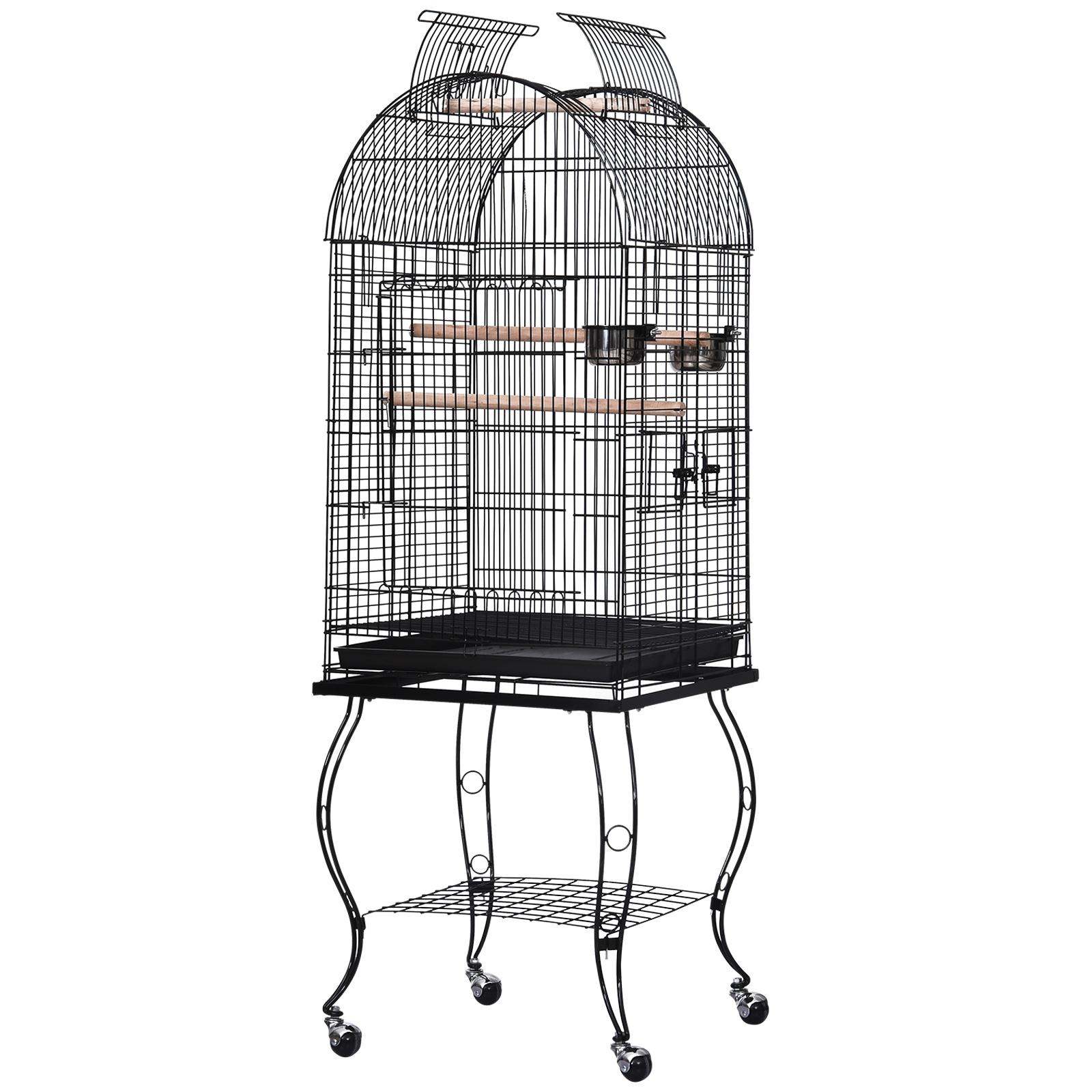 PawHut Gabbia per Uccelli, Canarini e Pappagalli in Metallo Nero con Ruote