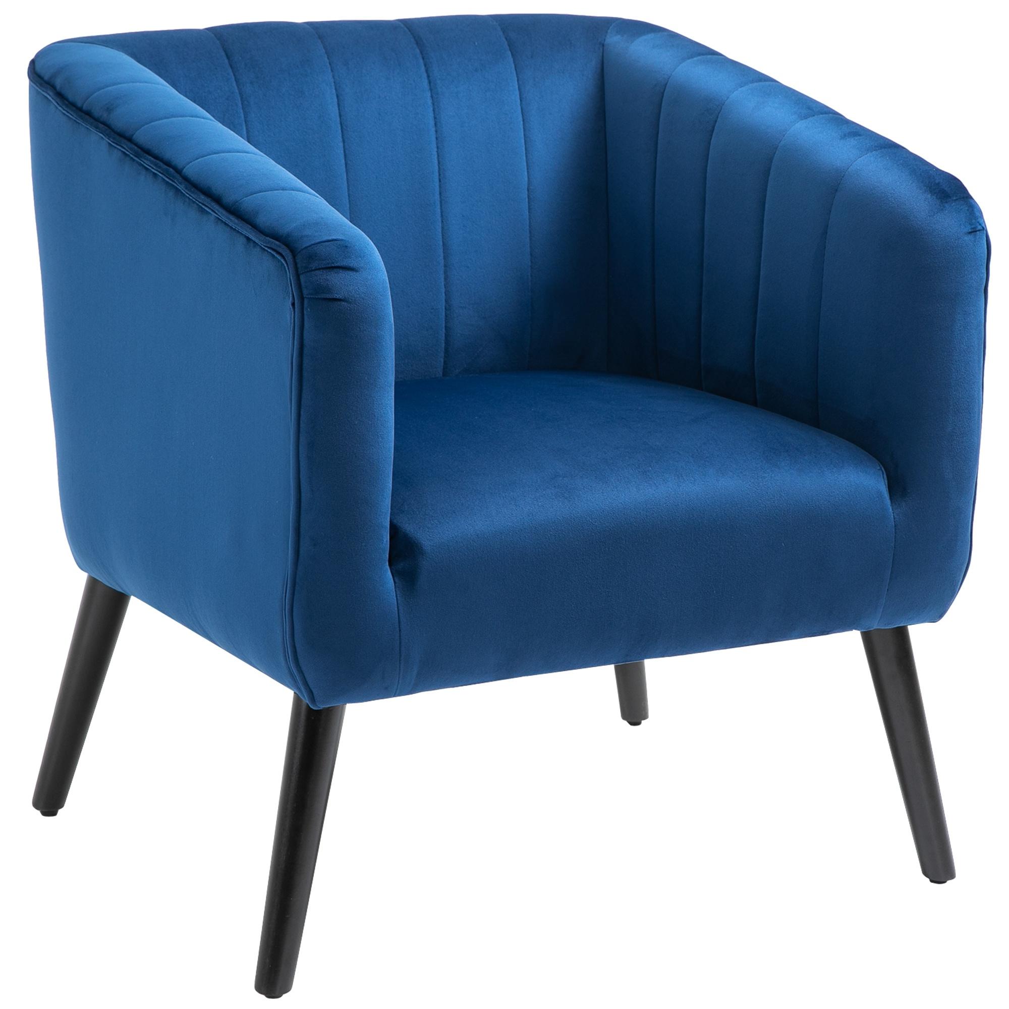 HOMCOM Poltroncina Moderna Stile Nordico Copertura Velluto e Gambe in Legno, Blu
