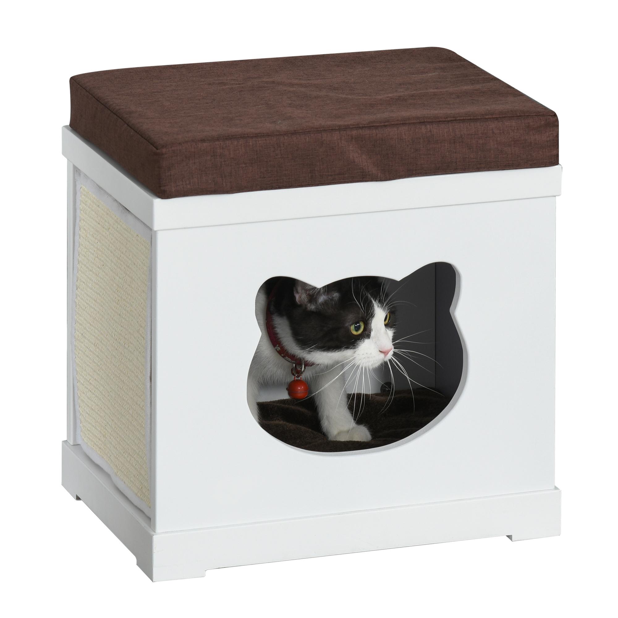PawHut Cuccia per Gatti in Legno con 2 Cuscini e Tiragraffi Rimovibili, Bianco