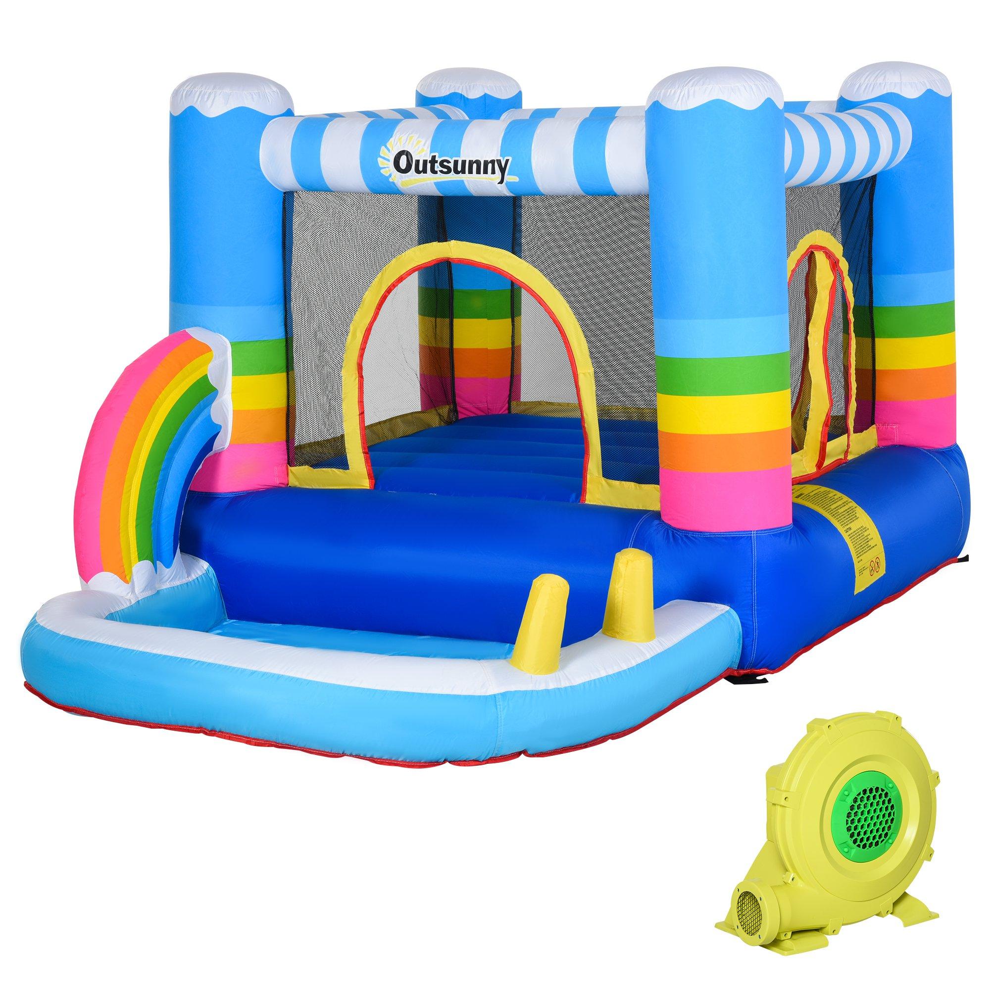 Outsunny Castello Gonfiabile per Bambini con Trampolino e Piscina Pompa Inclusa