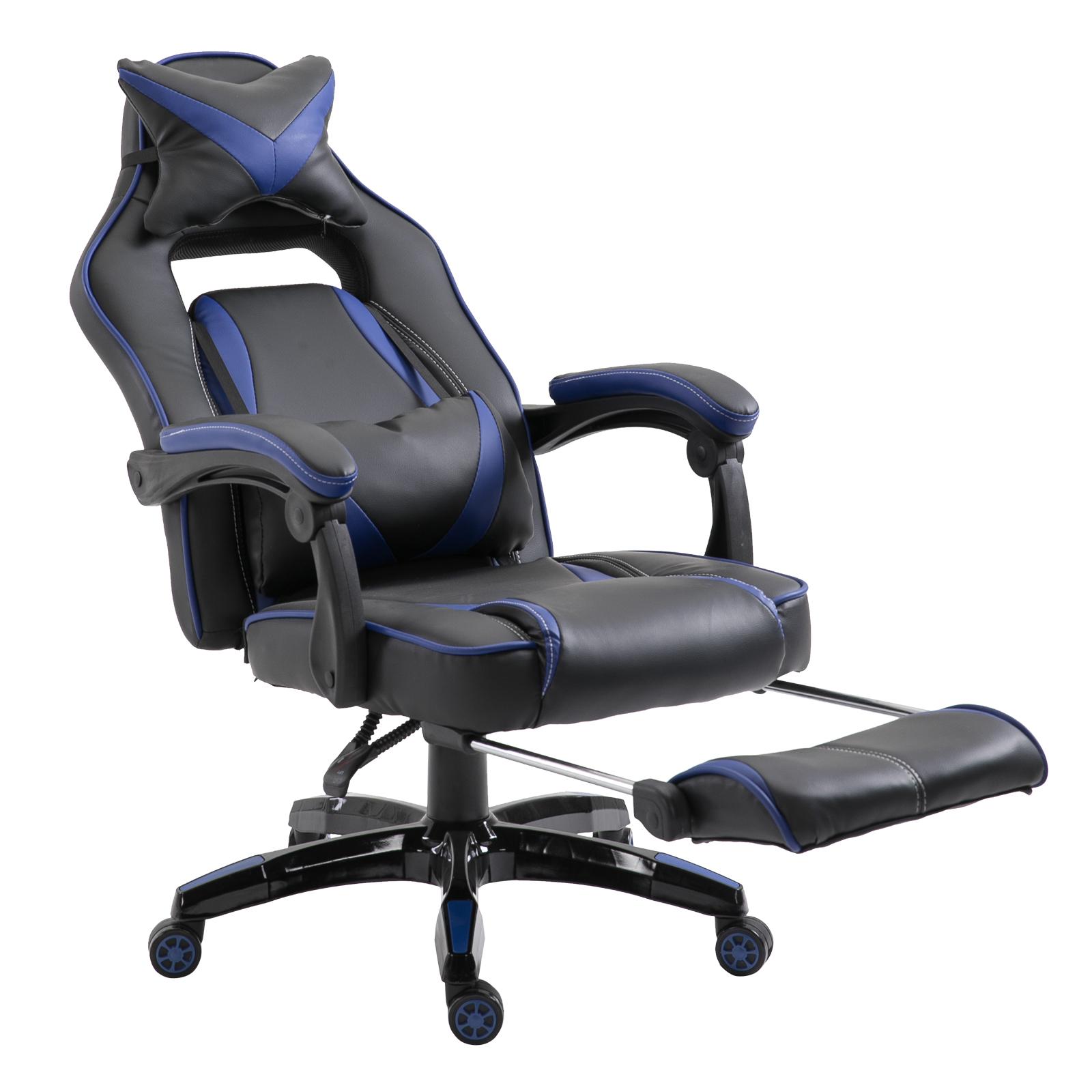 Vinsetto Sedie da ufficio sedia da gaming sedia da scrivania ergonomiche con Rotelle in Ecopelle, Blu e N
