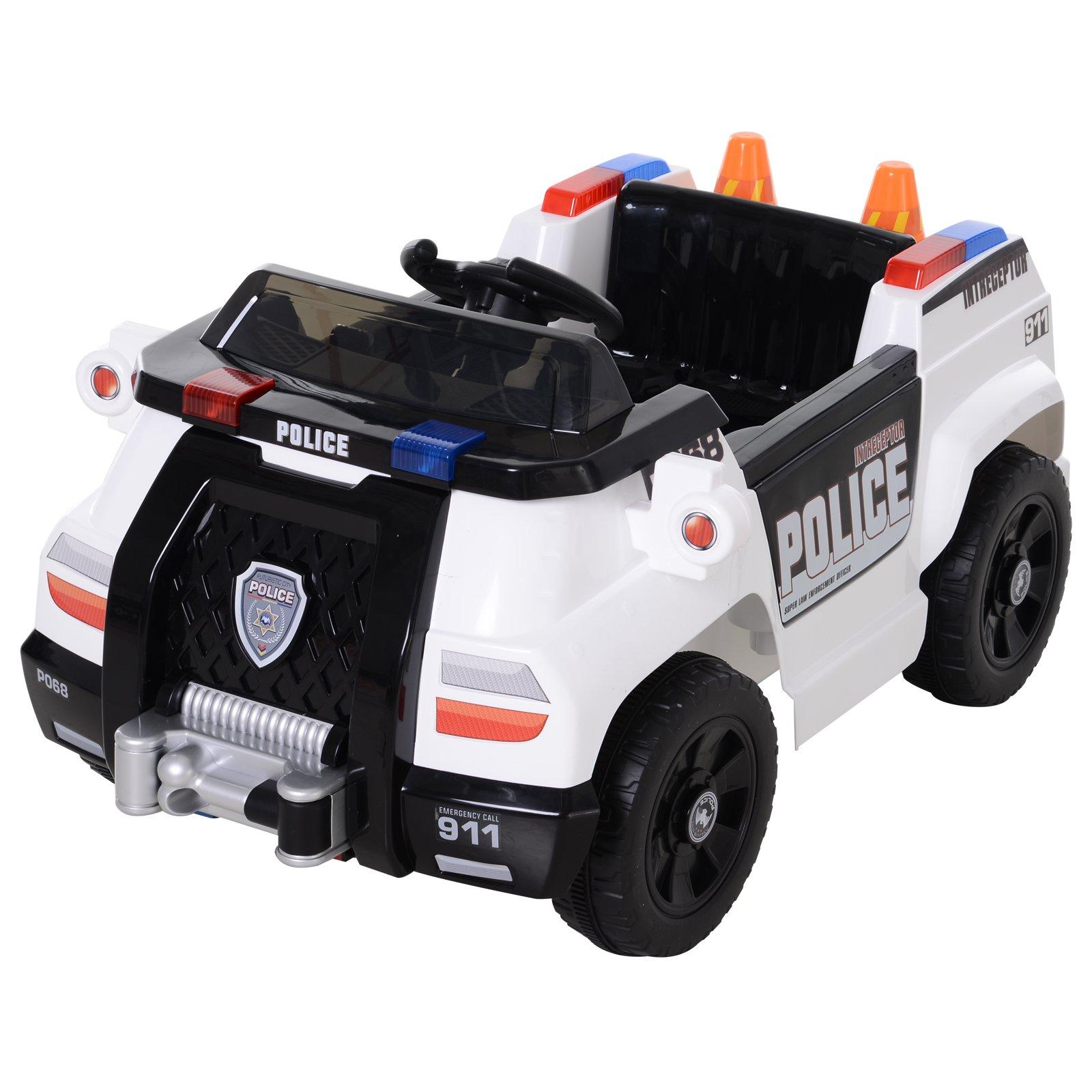 Homcom Macchinina Elettrica della Polizia Giocattolo con Telecomando Bianca