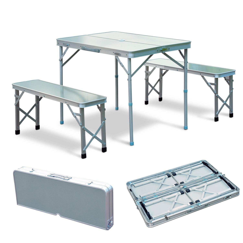 Outsunny Set Tavolo da Campeggio Giardino con 2 Panche Pieghevole Altezza Regolabile in Lega d'Alluminio Argento