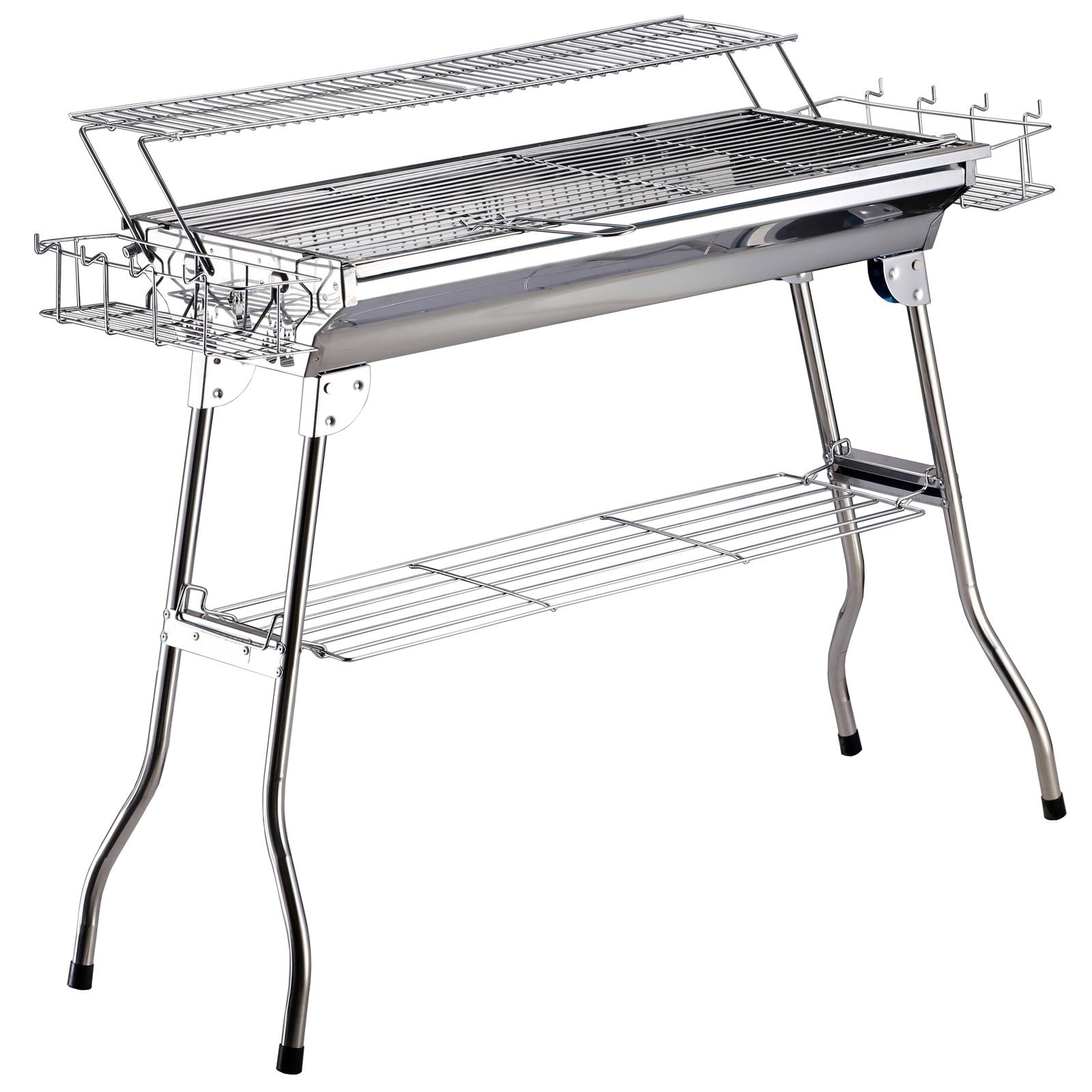 Outsunny Barbecue Acciaio Inox Gambe Pieghevoli 2 Griglie 100 x 43 x 68 cm