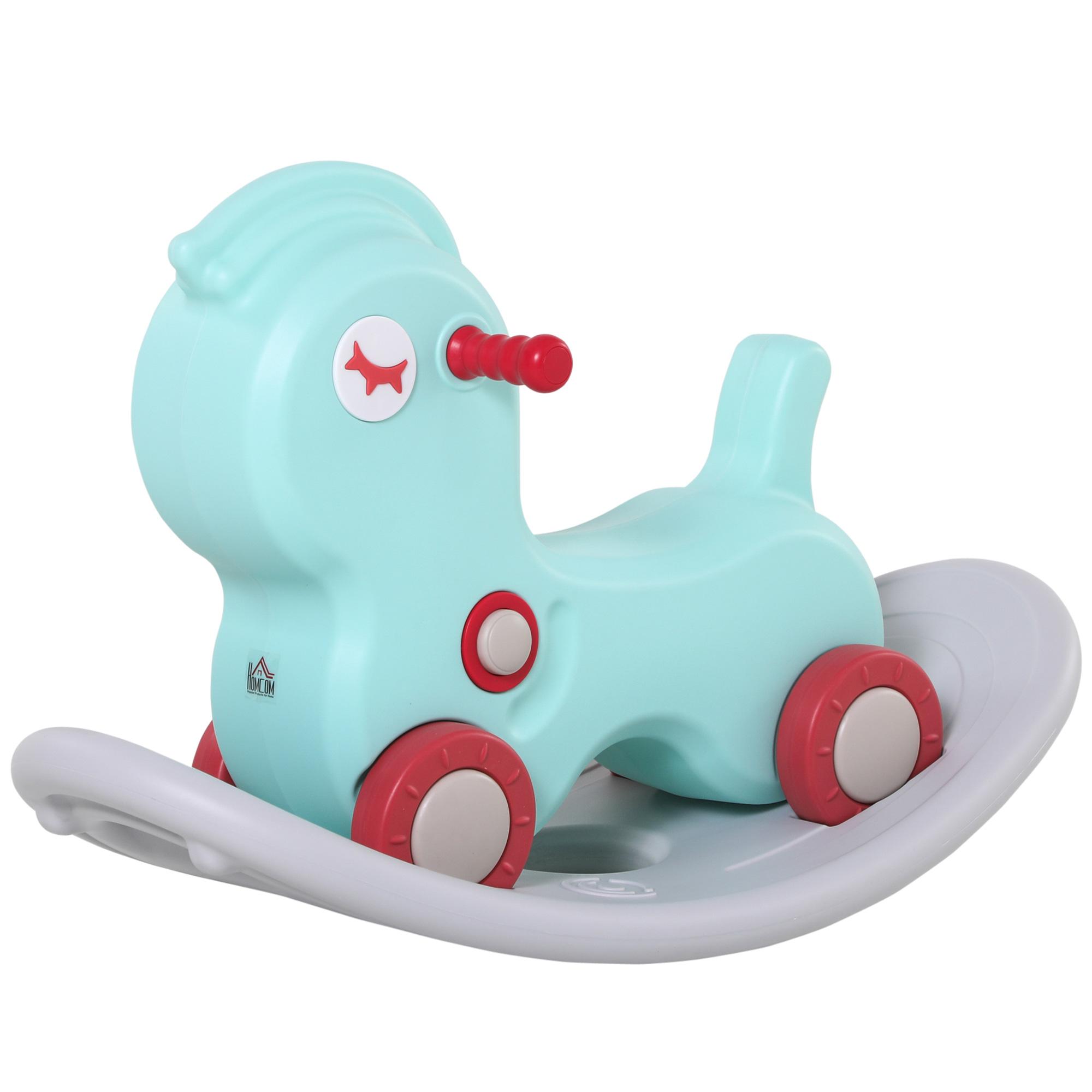 HOMCOM Cavallo a Dondolo 2 in 1 con Ruote e Giochi Sonori per Bambini 1 4 Anni