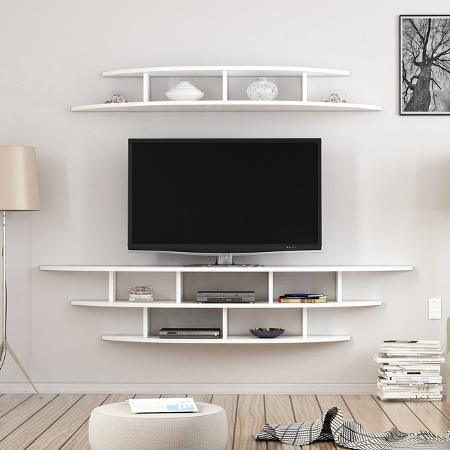 Homemania Alvino Mobile TV Lower Unit W176xD35xH35 cm, Upper Unit W147xD29xH18 cm Bianco