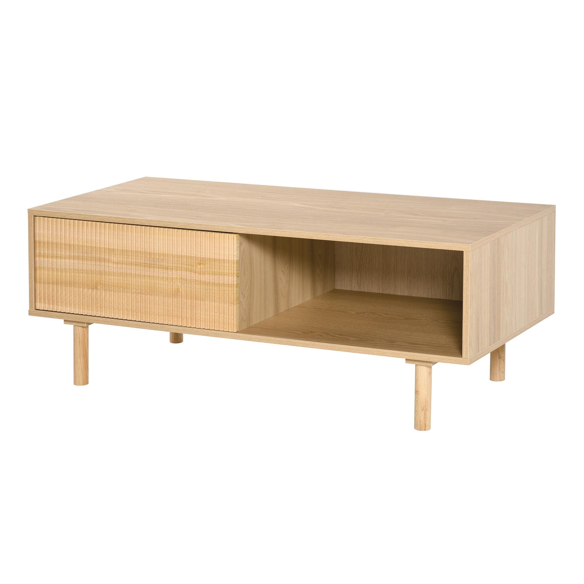 HOMCOM Tavolino da Salotto Stile Nordico con Anta e Vano Aperto Colore Legno