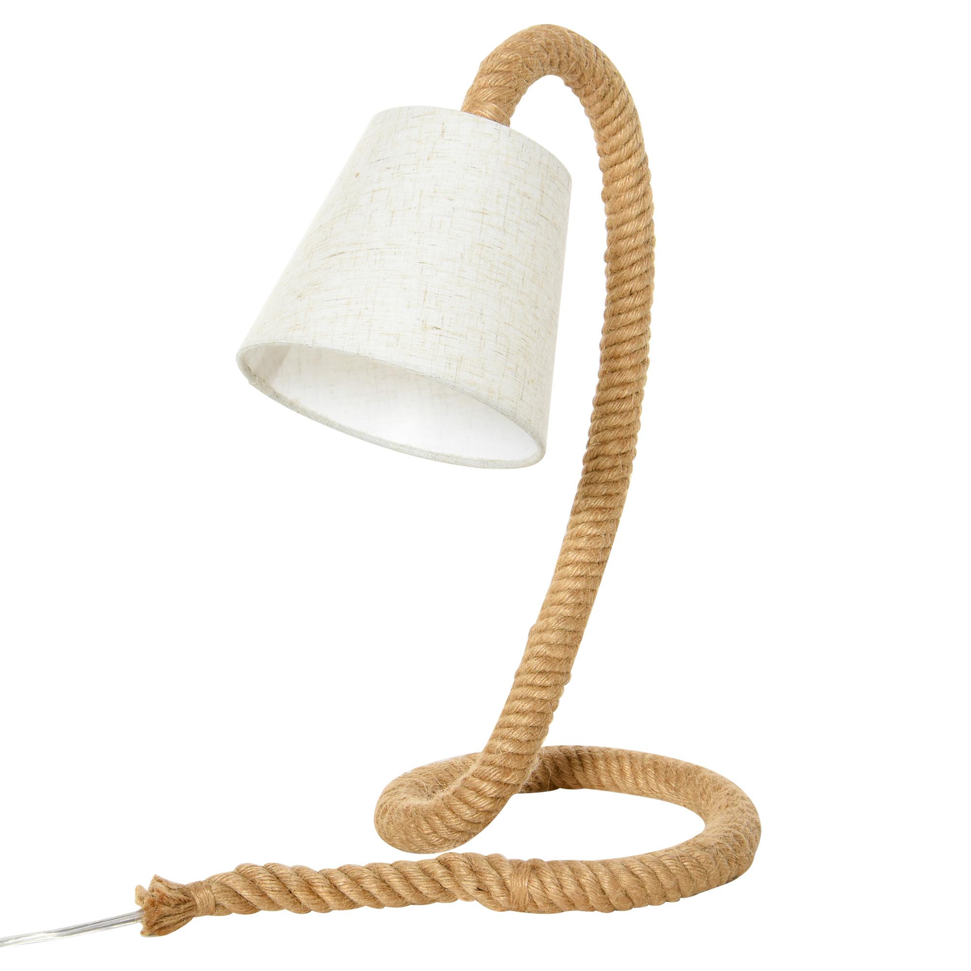 HOMCOM Lampada da Tavolo Stile Marinaro in Corda e Tessuto, Attacco E14