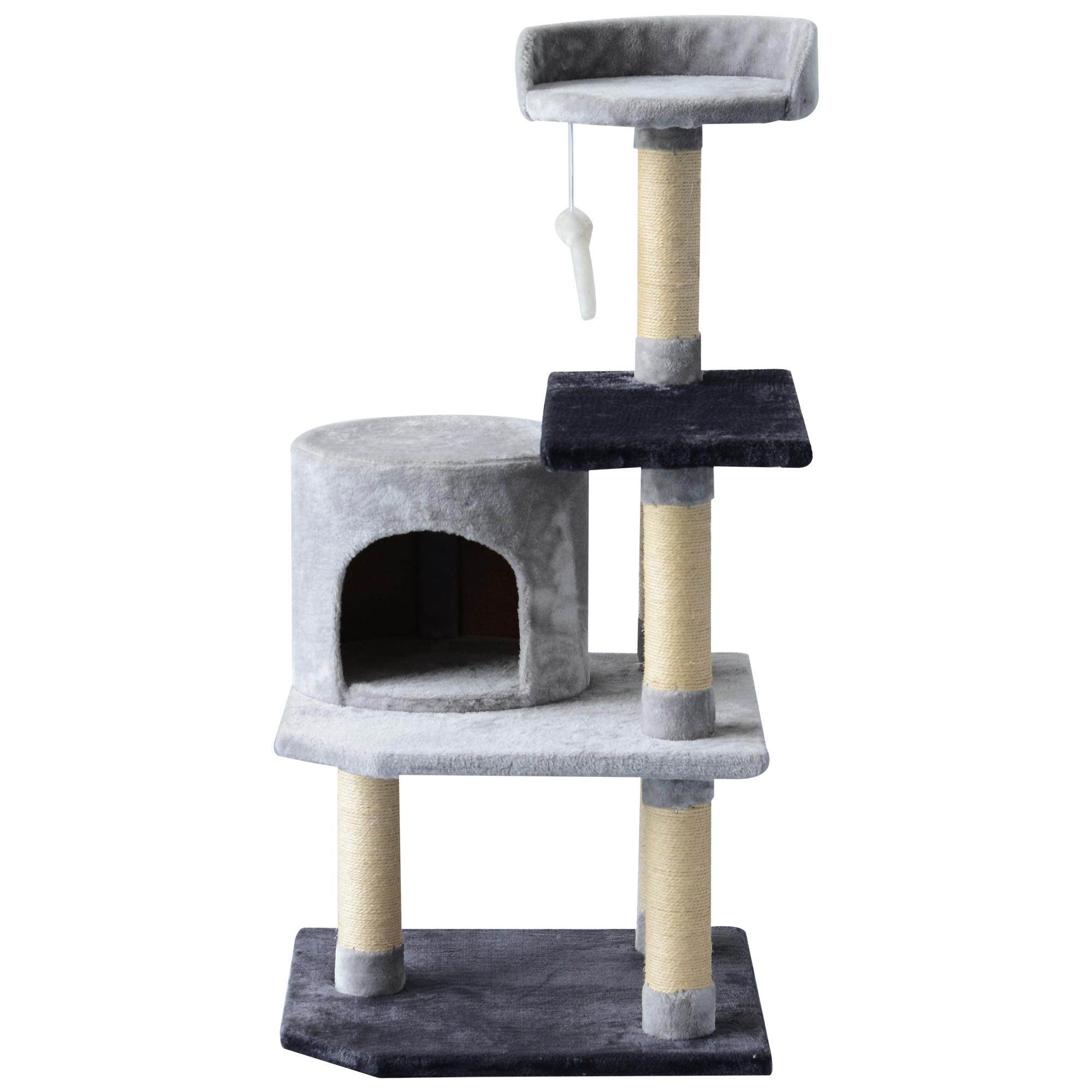 PawHut Albero per Gatti di 3 livelli con Topolino Grigio, 48x48x100cm