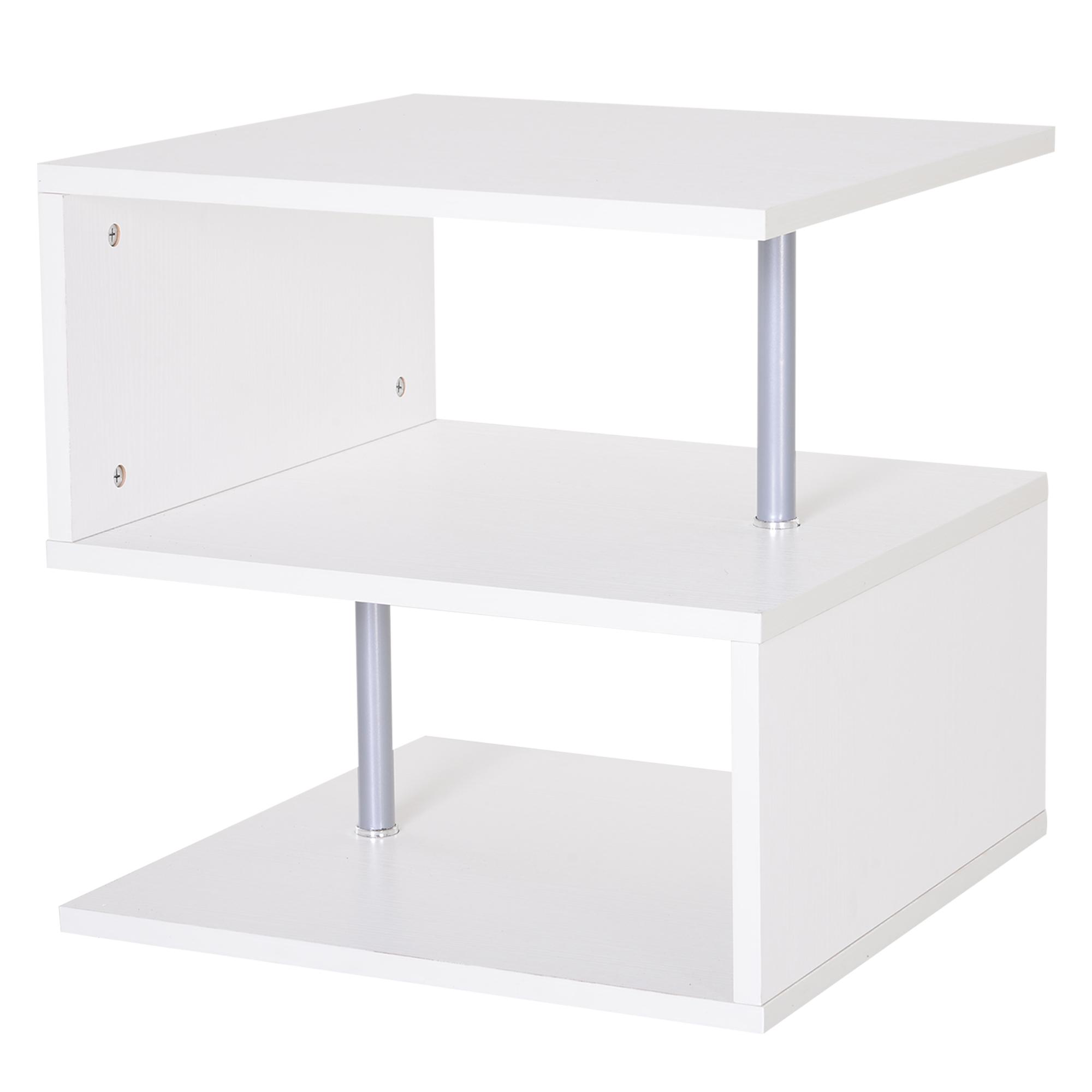 HomCom Moderno Tavolino Basso Da Salotto in Legno Bianco, 50x50x50cm