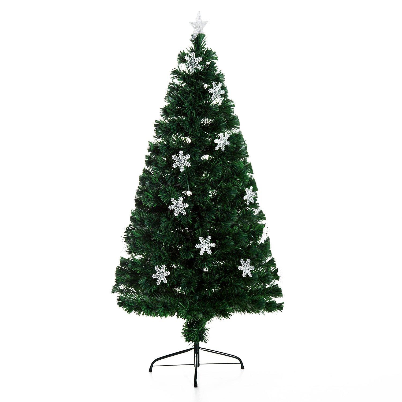 HomCom Albero di Natale 20 luci LED a Forma di Cristallo di Neve 150cm