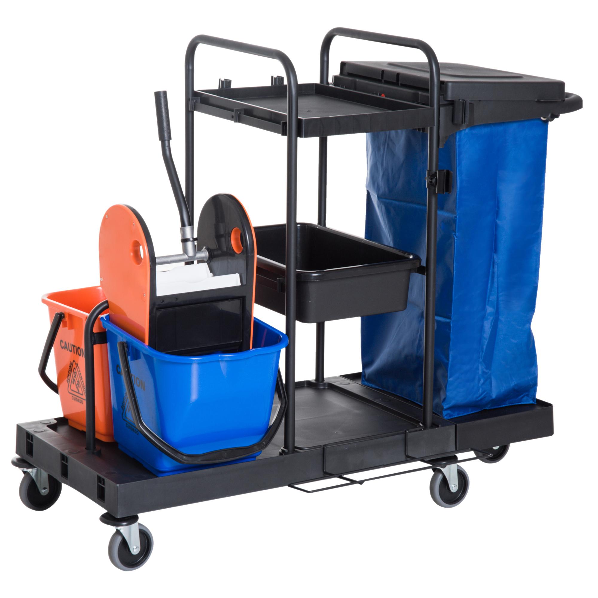 Homcom Carrello Pulizie Professionale Multiuso con 2 Secchi Capacità 18L e Ruote, Blu