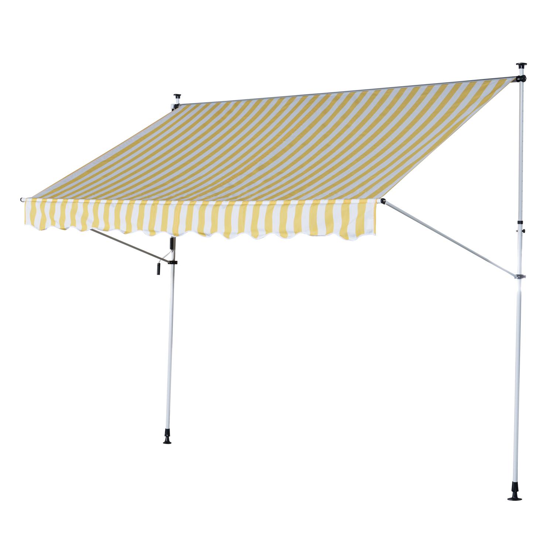 Outsunny Tenda da Sole a Muro con Pali di Supporto, Bianco e Giallo, 300x150cm