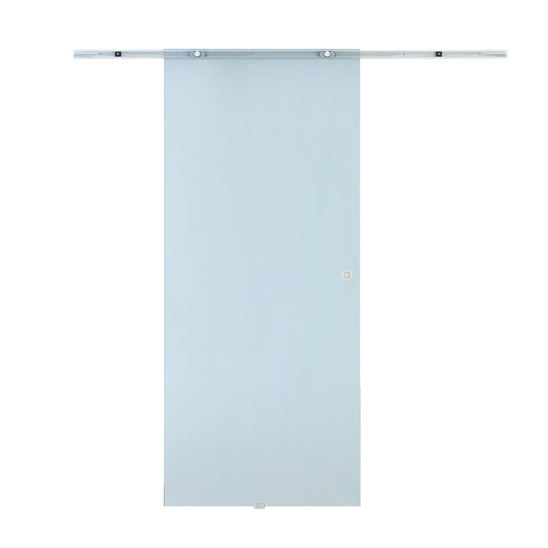 Homcom Porta Scorrevole in Vetro Smerigliato con Binario in Alluminio, 90x205cm