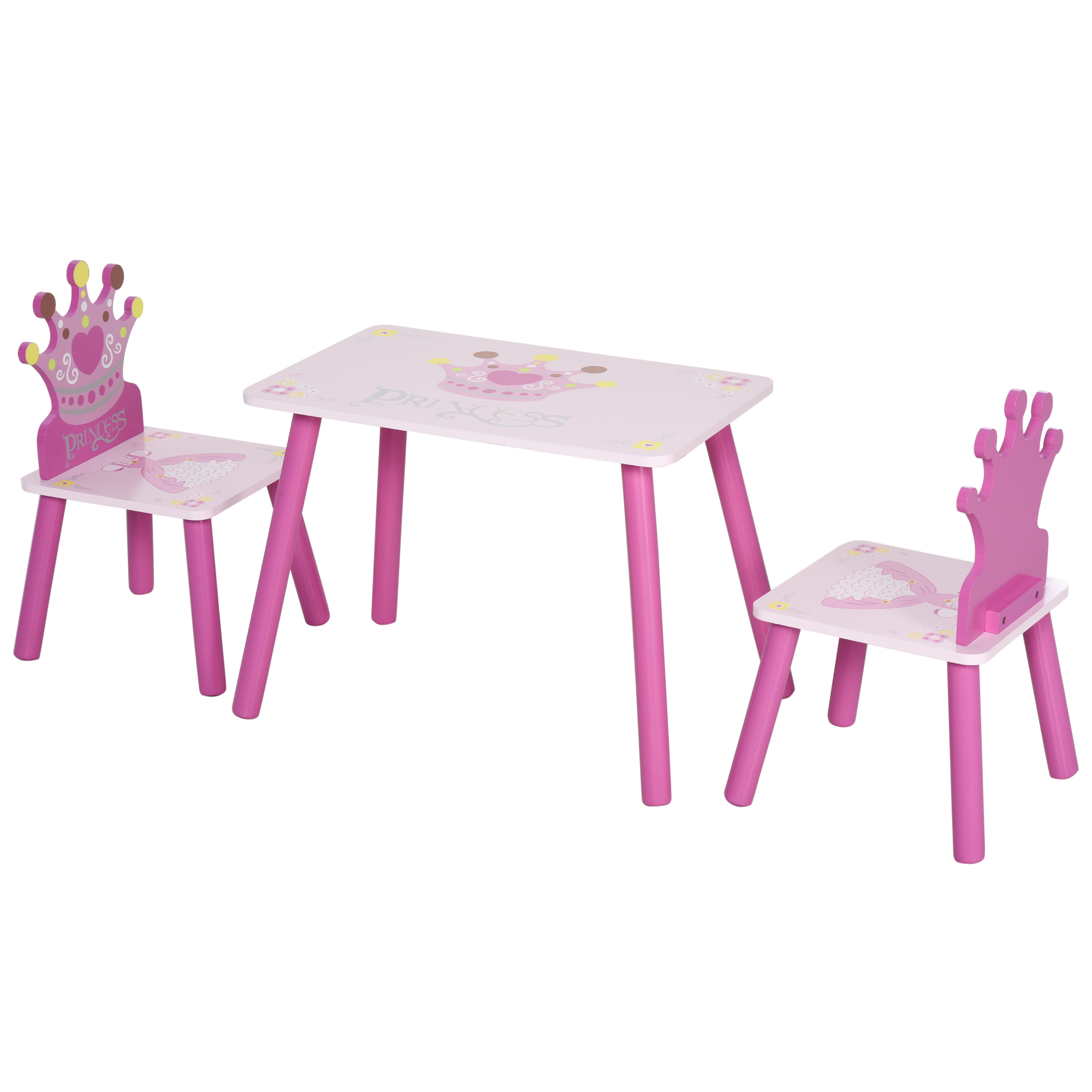 Homcom Set Tavolo e 2 Sedie Tema Principesse per Cameretta Bambini in Legno Rosa